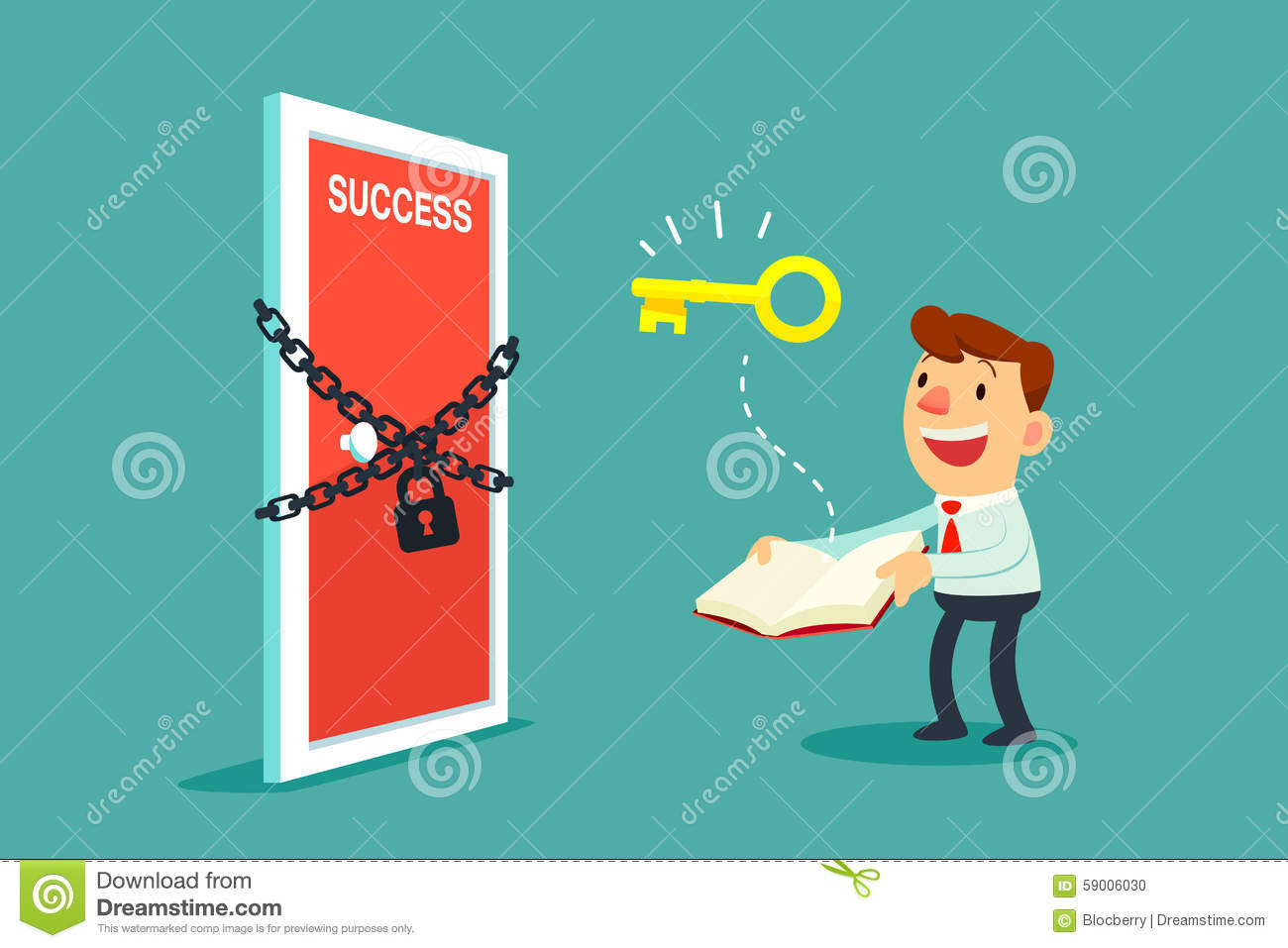 Businessman Open A Book To Unlock Door To Success Stock Vector ...