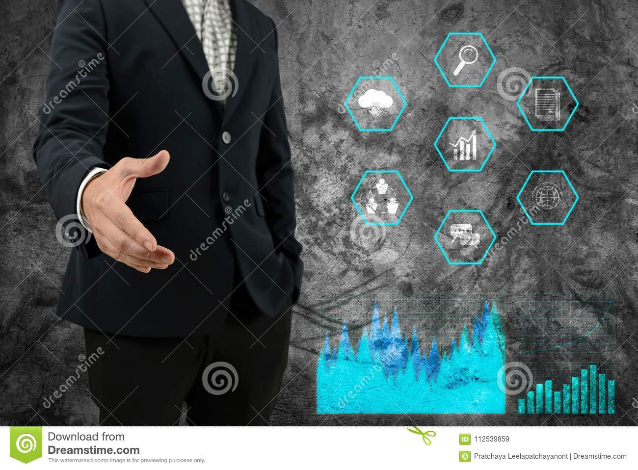Businessman open hand for handshake to make business agreement with graph and business icons