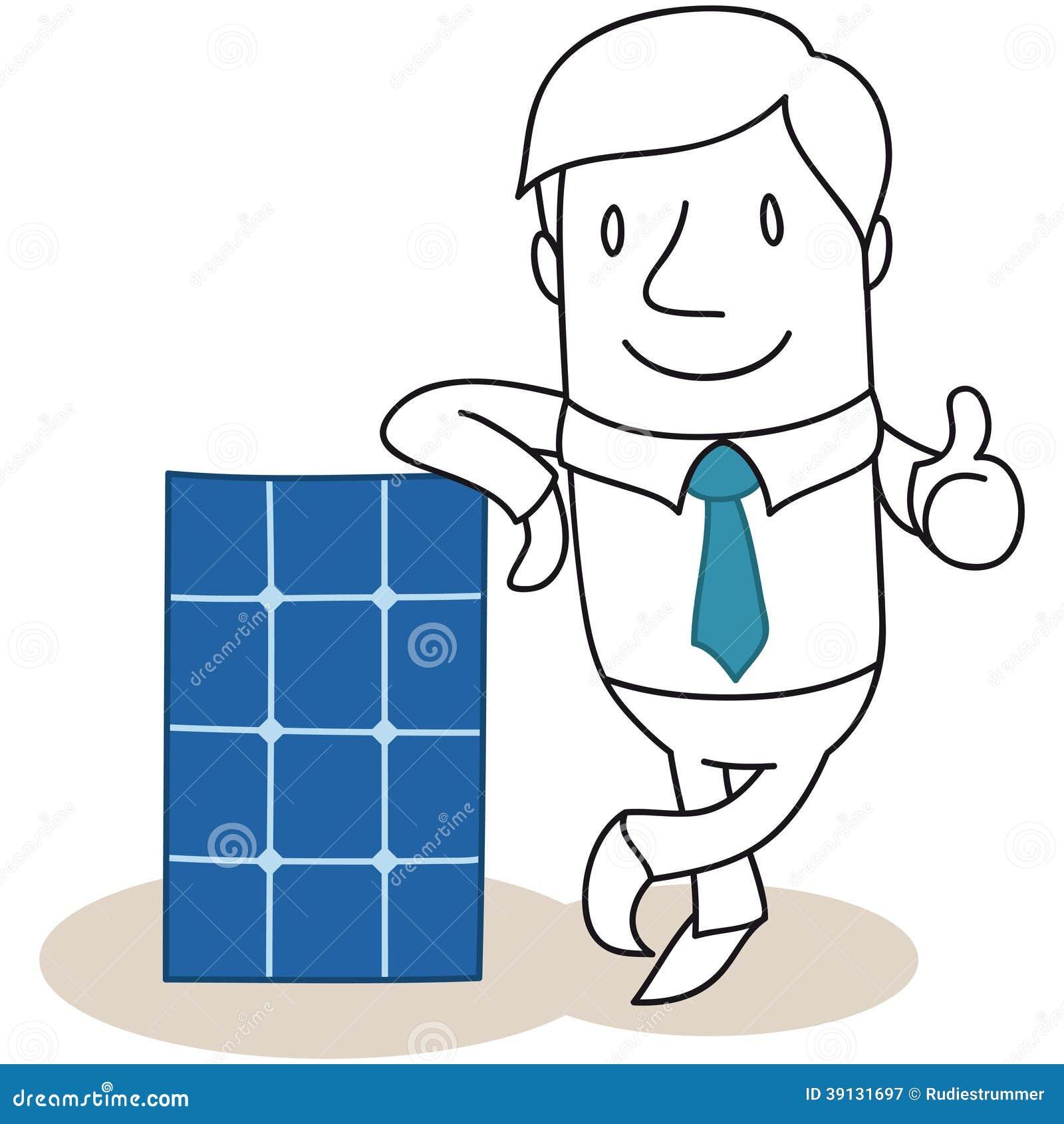 Power Tools Cartoon Businessman Photovolta...