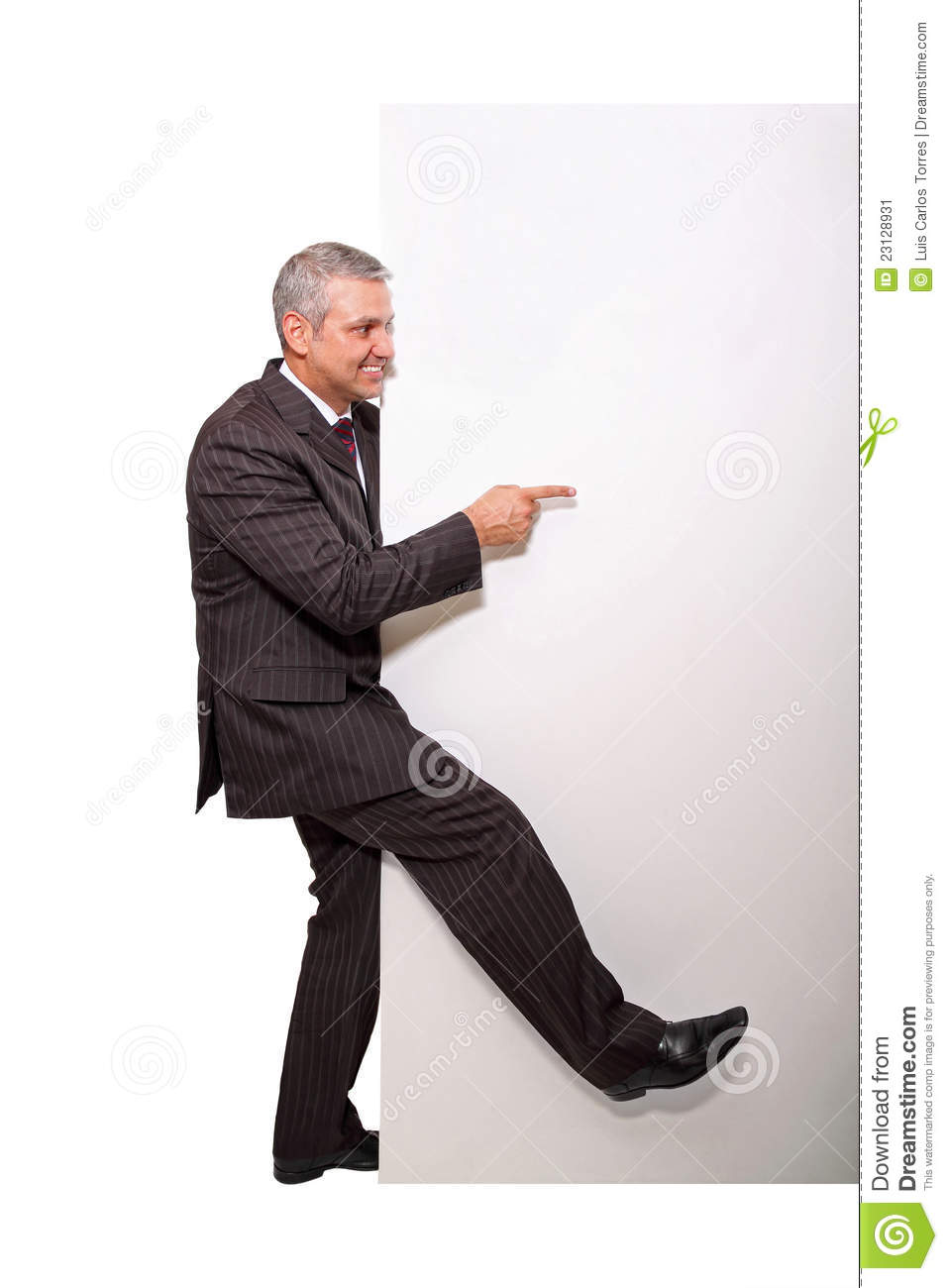 Businessman and placard