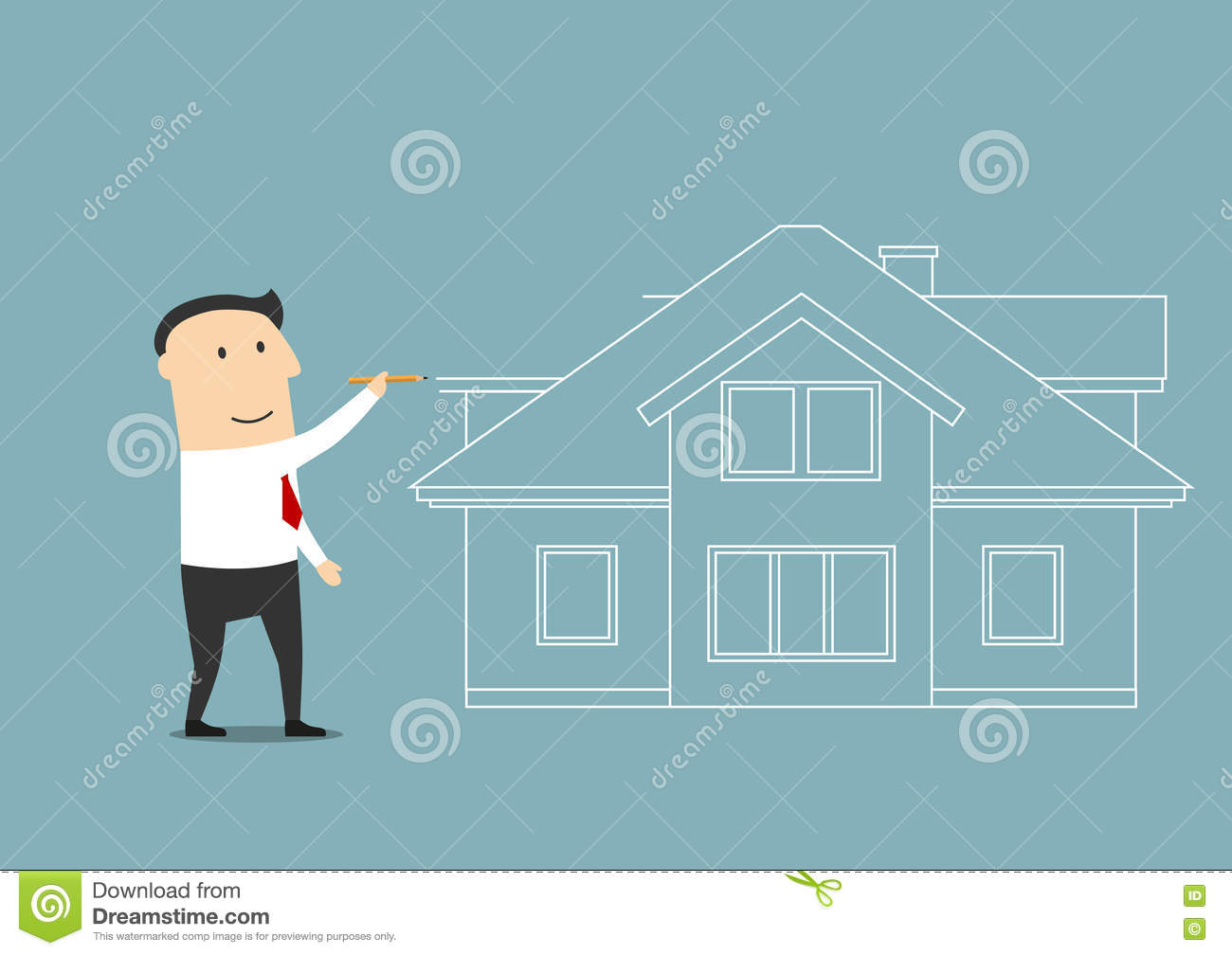 Businessman planning to buy a home stock vector image for Two story house drawing