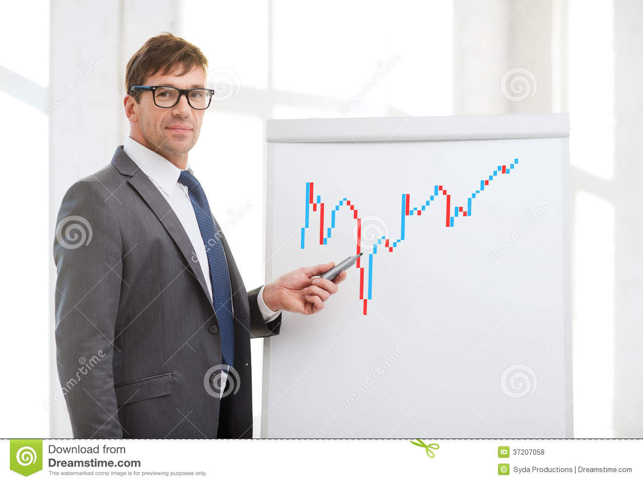 Businessman Pointing To Forex Charton Flip Board Royalty ...