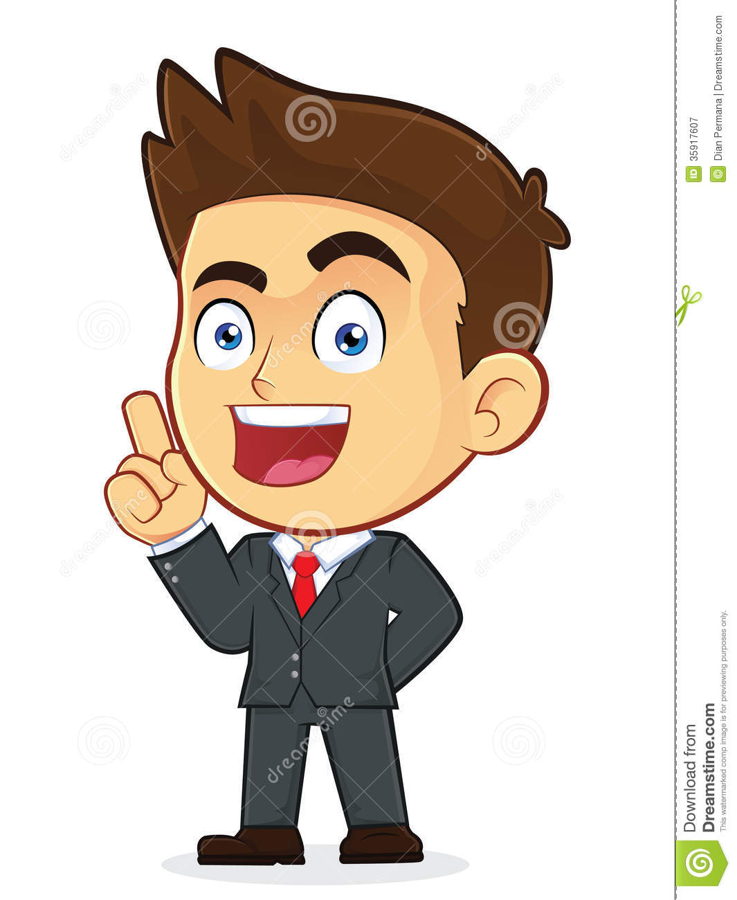 Cartoon Characters Male : Businessman pointing upwards royalty free stock