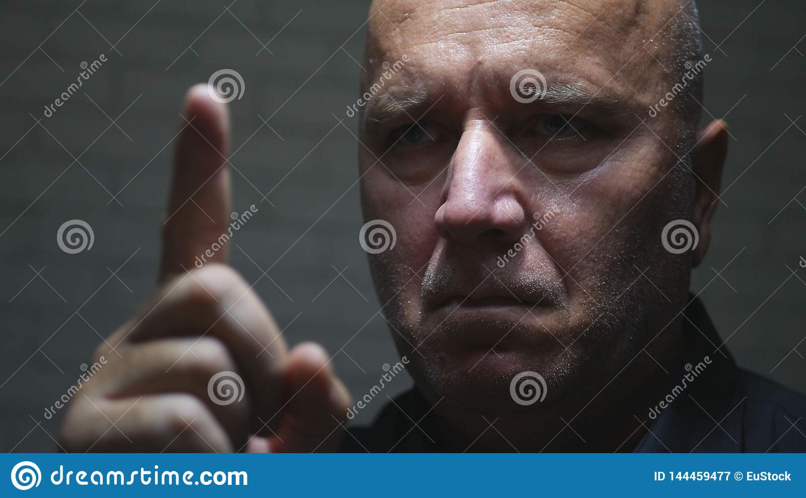 Businessman Portrait Warning with a Hand Gestures Pointing with Finger
