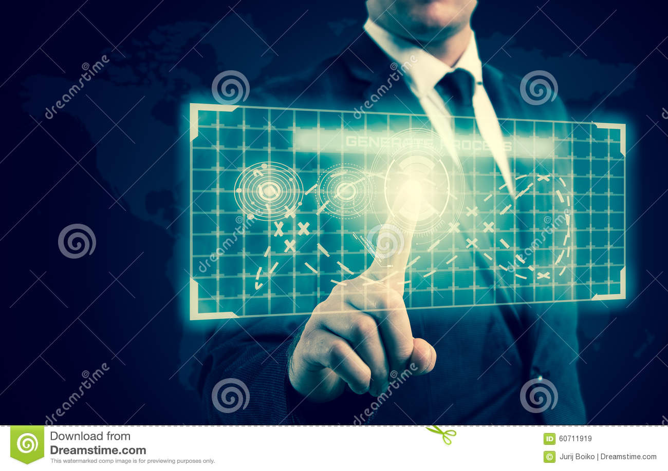 The businessman pressed a button on the high-tech display
