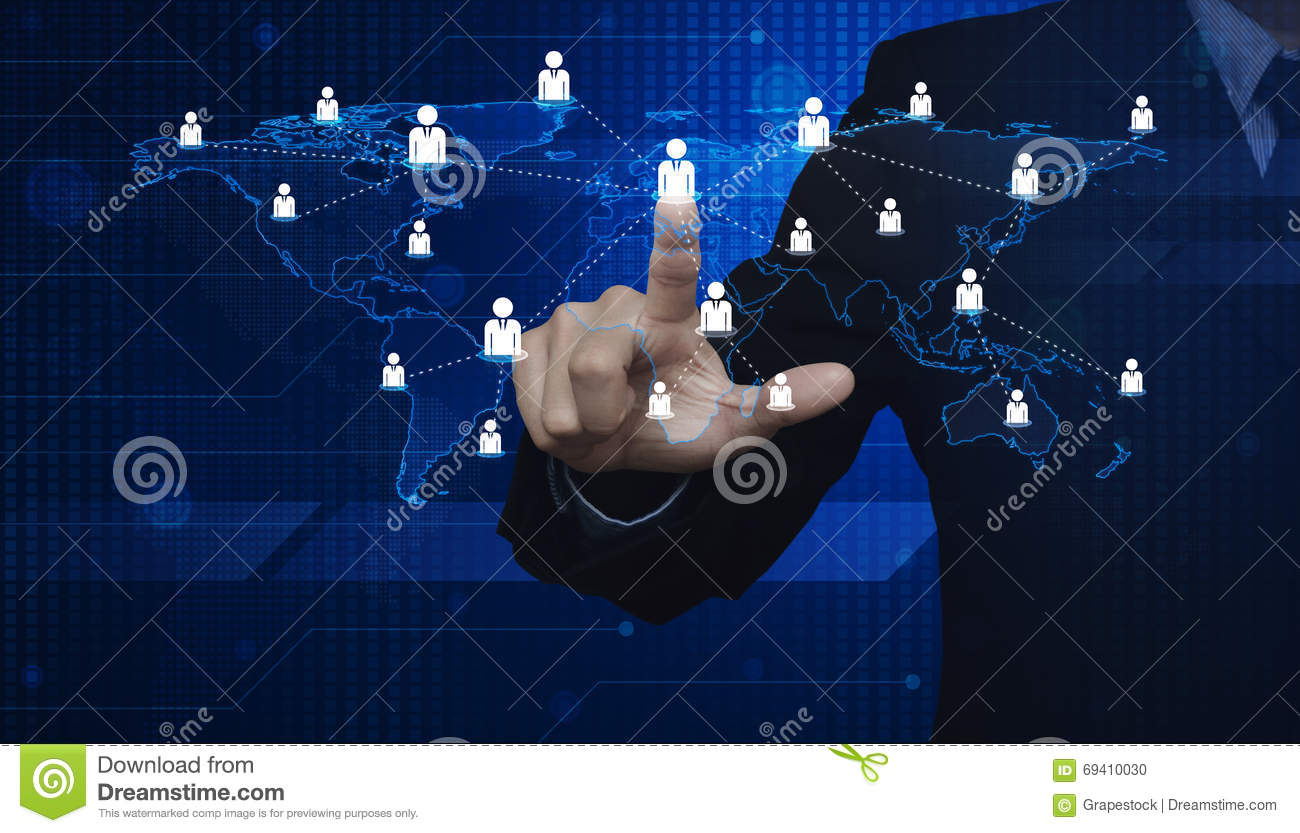 Businessman Pressing Businessman Icon With Light Blue World Map Stock Photo
