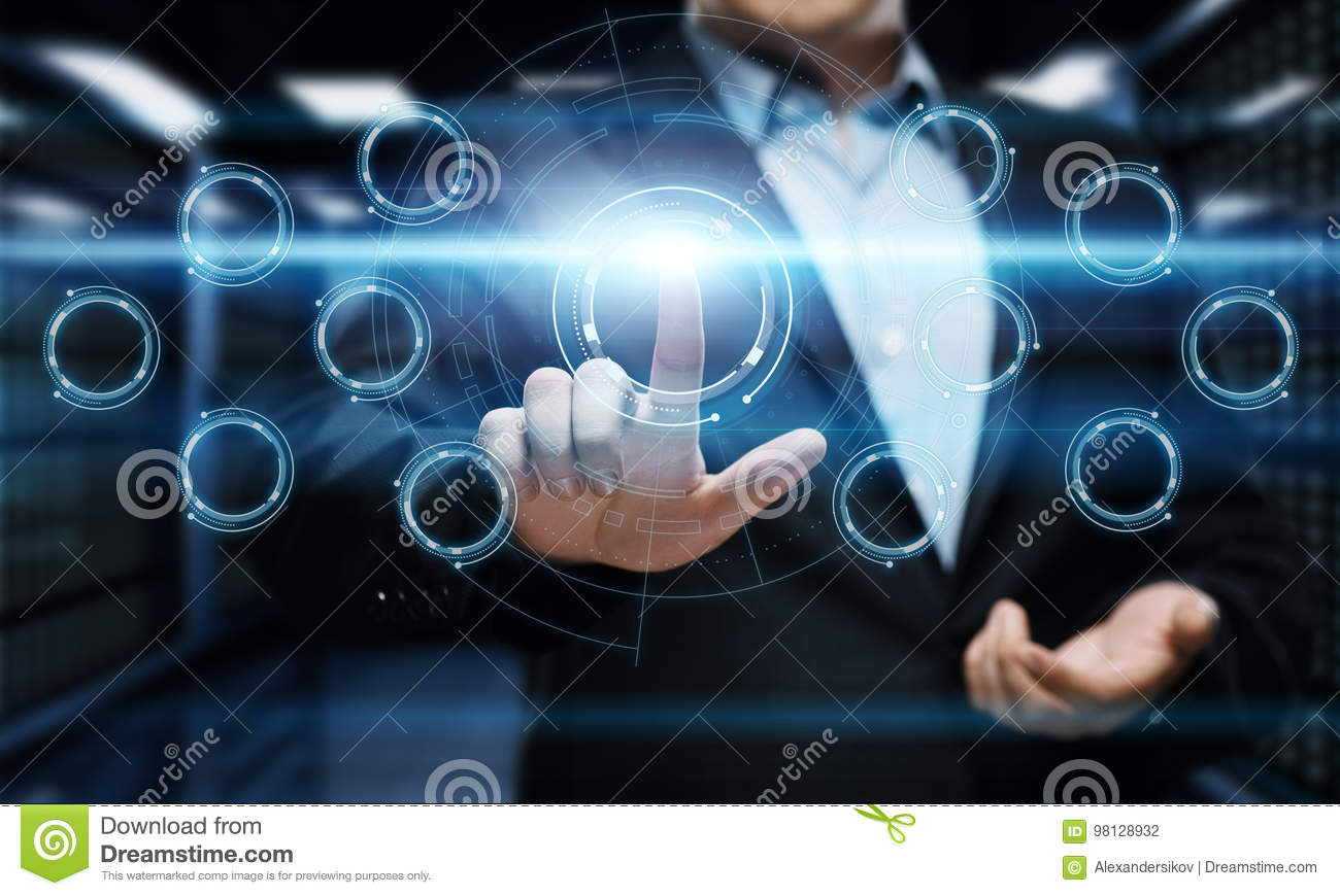 Businessman pressing button. Man pointing on futuristic interface. Innovation technology internet and business concept.
