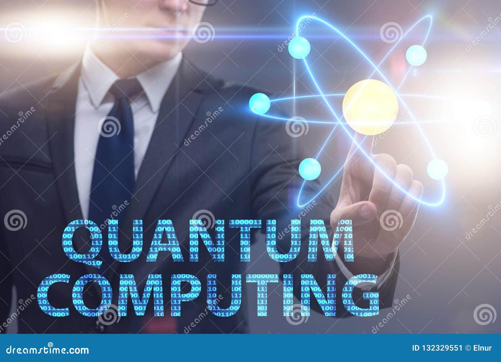The Businessman Pressing Virtual Button In Quantum Computing Concept