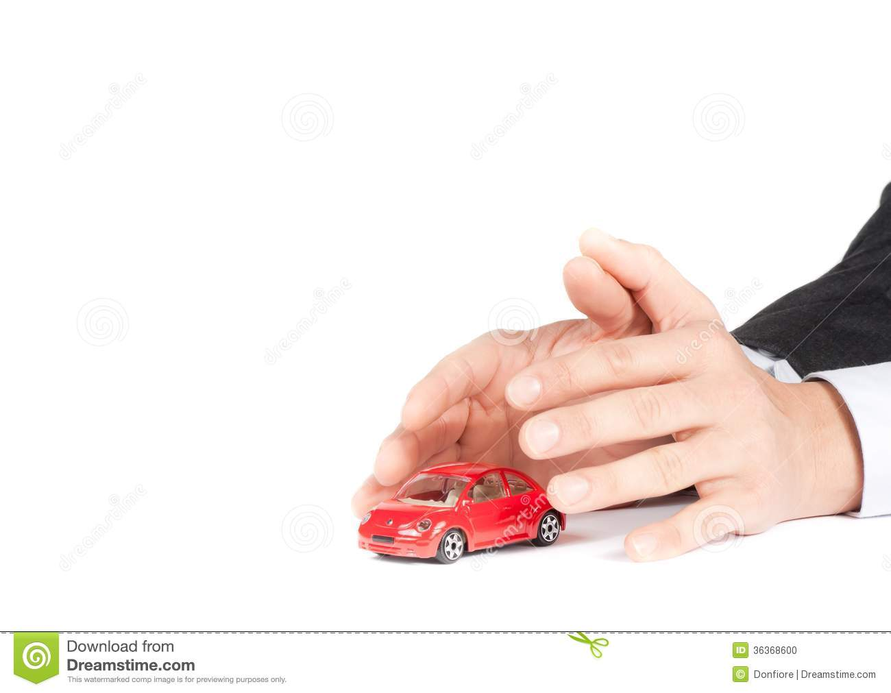 Businessman Protect With His Hands A Red Car, Car Insurance Concept