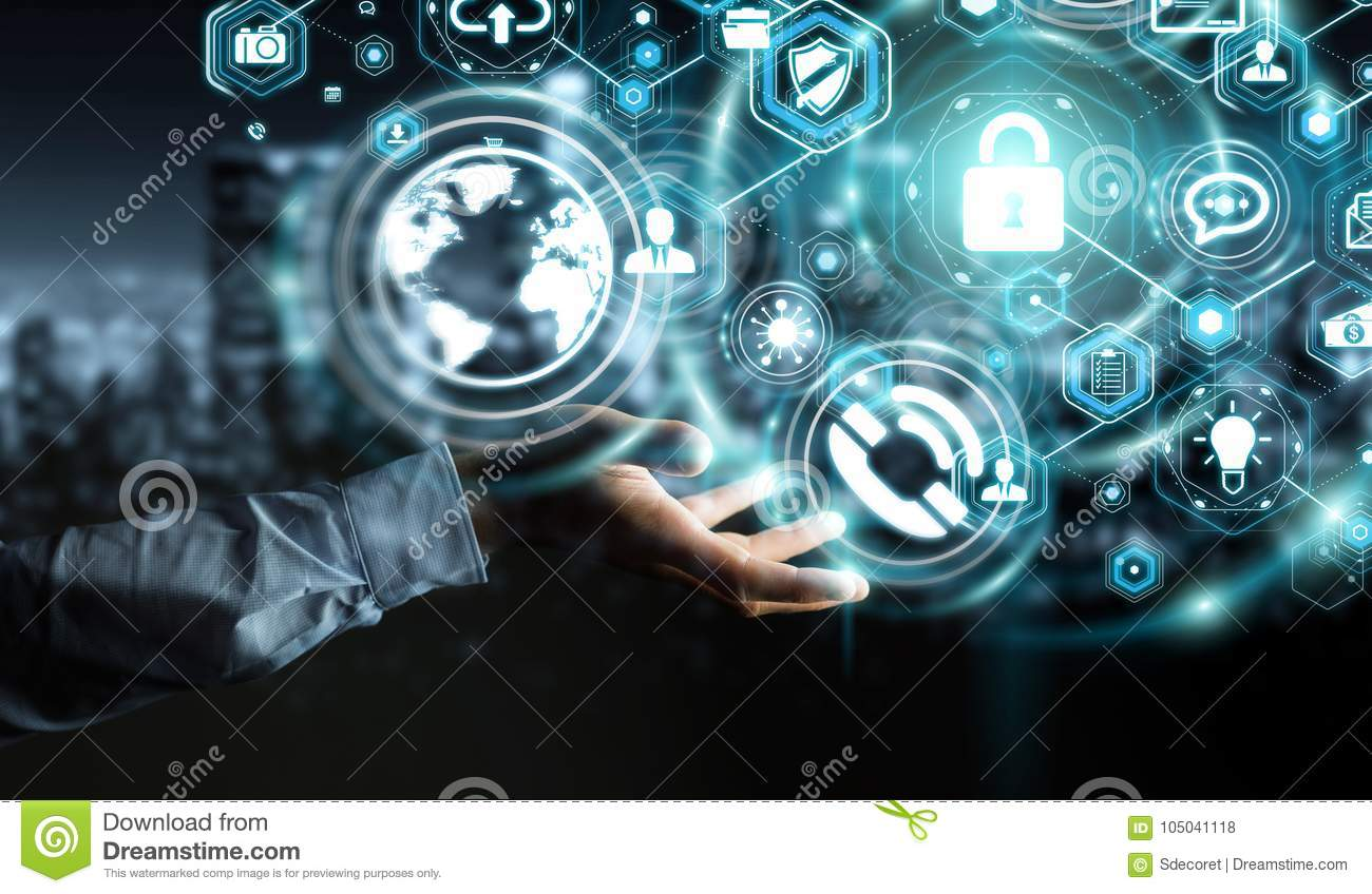 Businessman protecting his data personal information 3D rendering