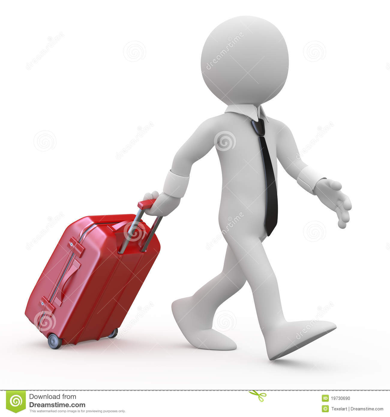 Businessman Pulling A Red Trolley Suitcase Stock Photo