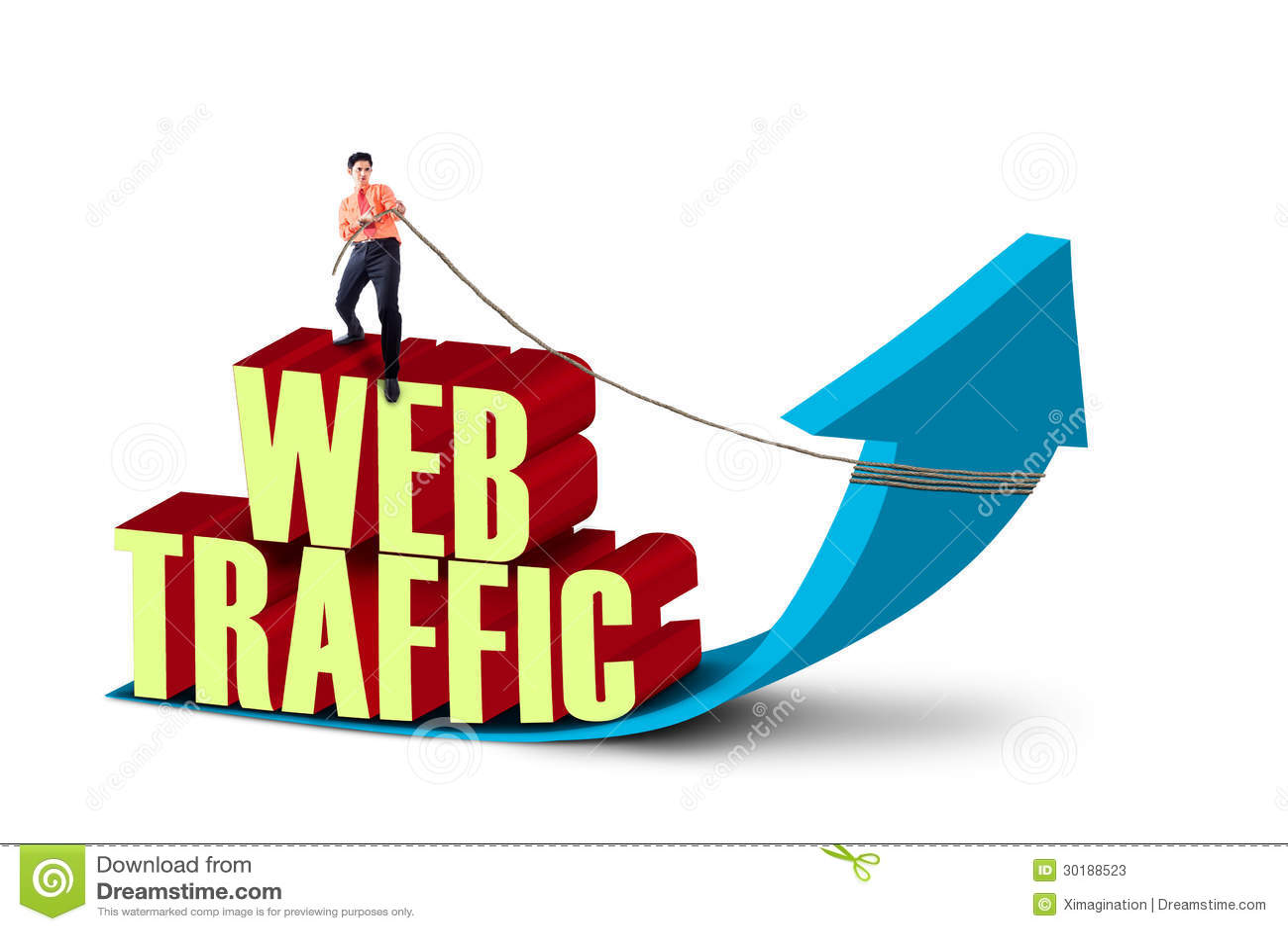 Businessman pull web traffic