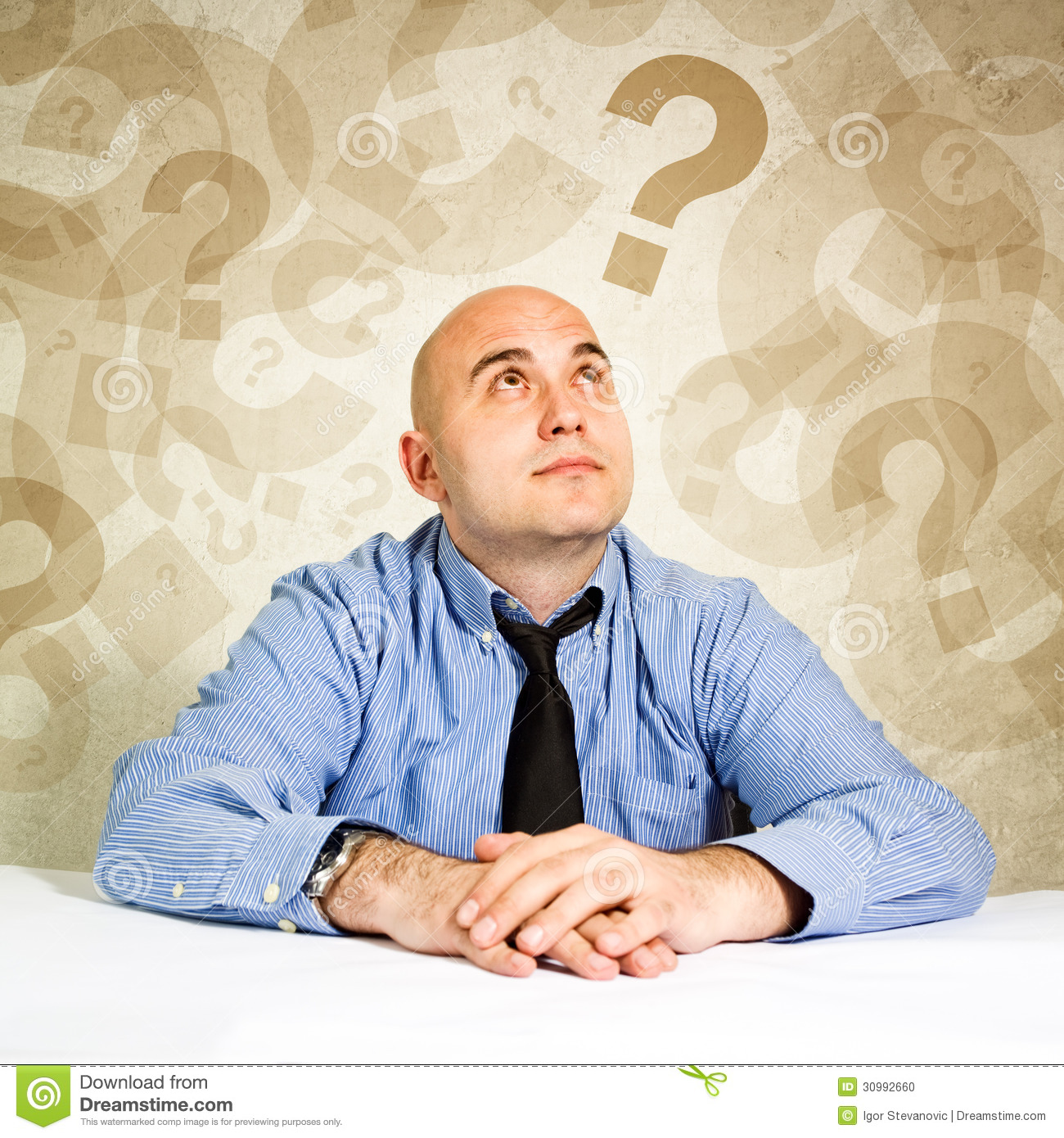 Businessman questioning stock photo. Image of solving ...