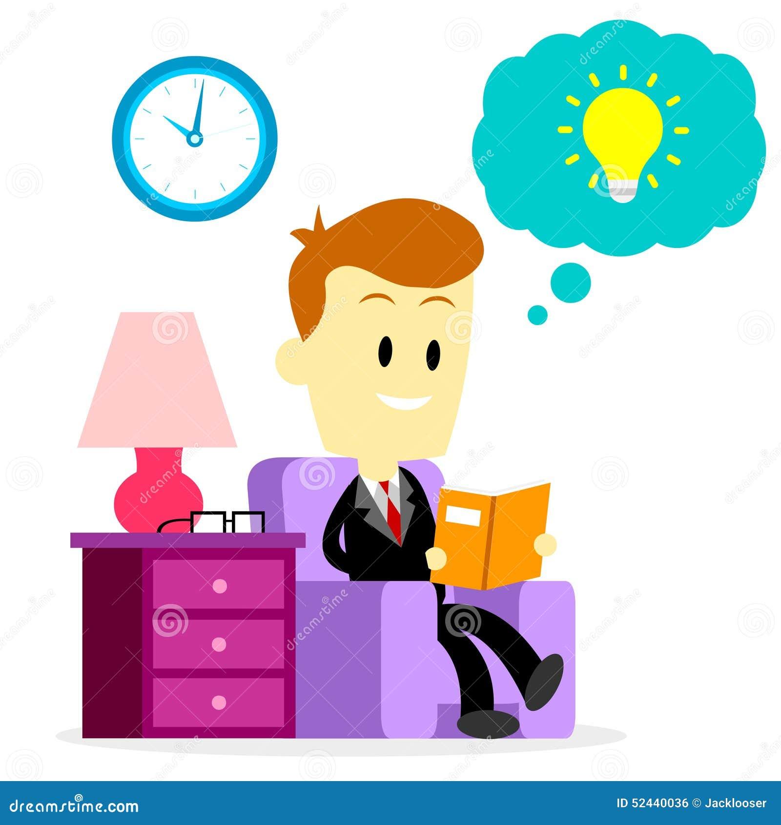 Businessman Reading A Book To Improve Skills Stock Vector Illustration Of Inspiration Horizon 52440036