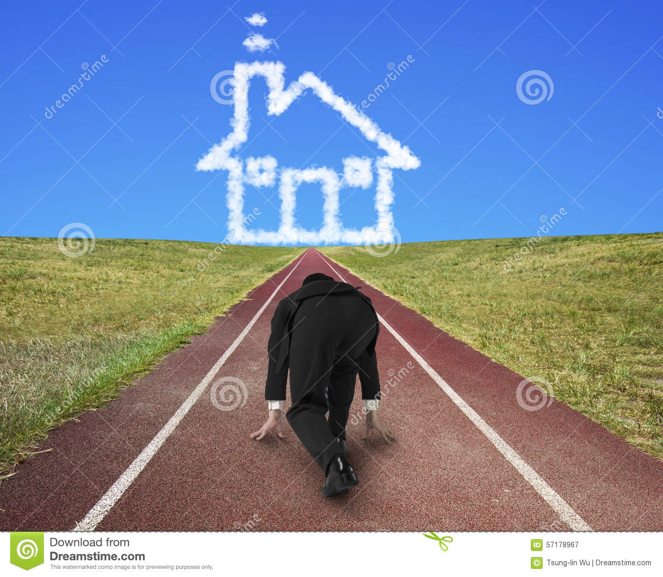 Businessman Ready To Race On Running Track Toward House