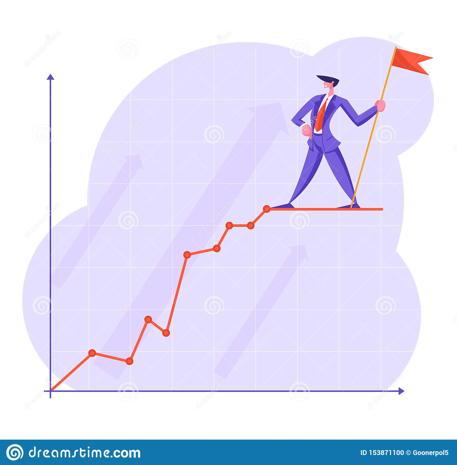 Businessman with Red Flag Stand on Top of Growing Business Chart Curve Line on Coordinate System