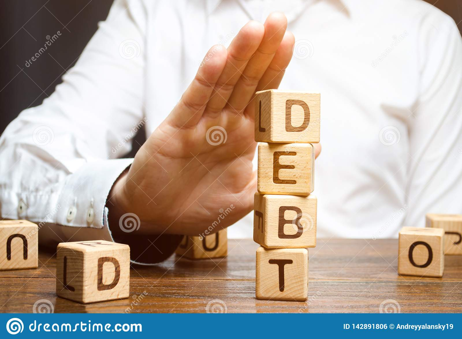 Businessman refuses to take a loan. Refusal of loans with high interest rates. Inability to pay the debt. Unprofitable terms