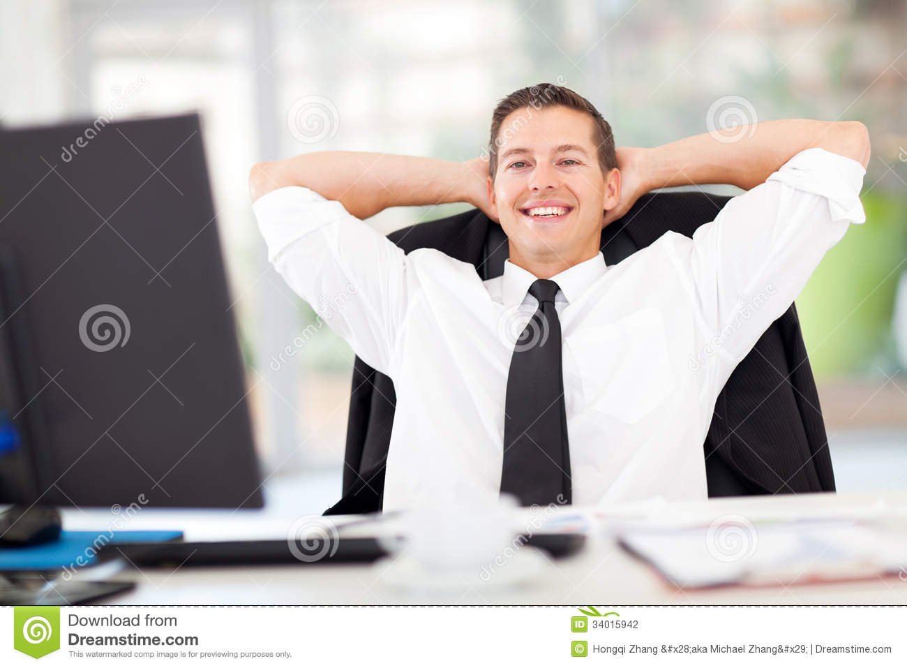 Businessman relaxed office stock photo image of computer 34015942 - Office portrait photography ...