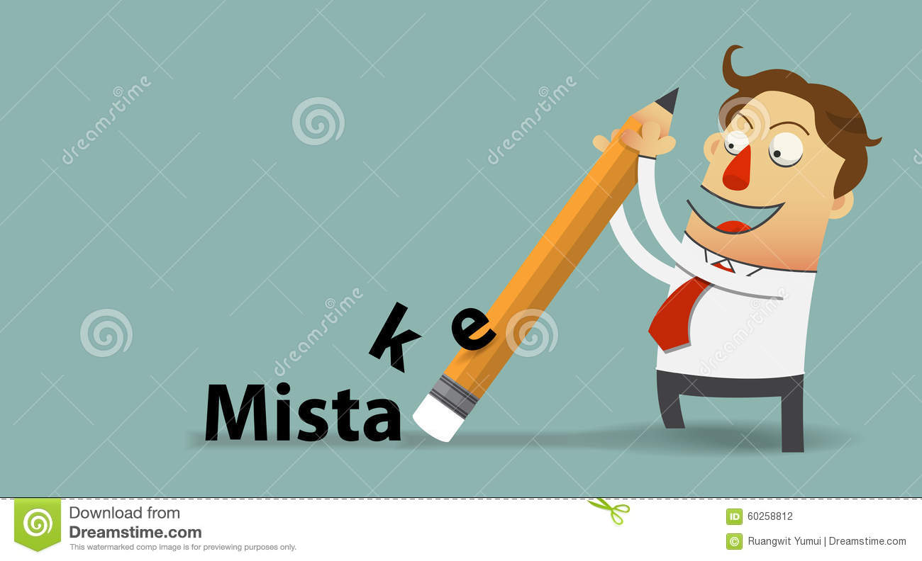 businessman removing mistake with his eraser in flat