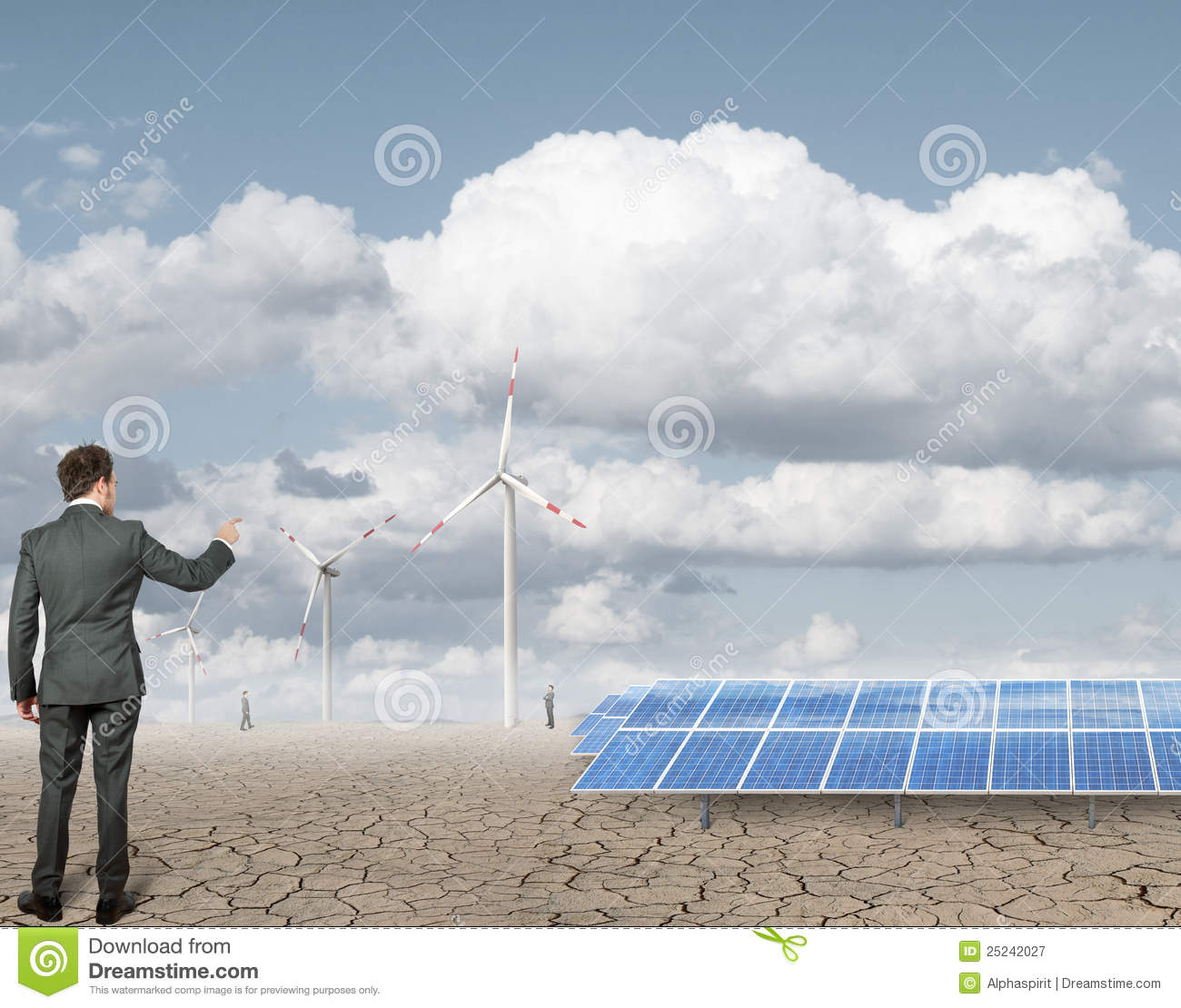 Royalty Free Stock Photography: Businessman and renewable anergy