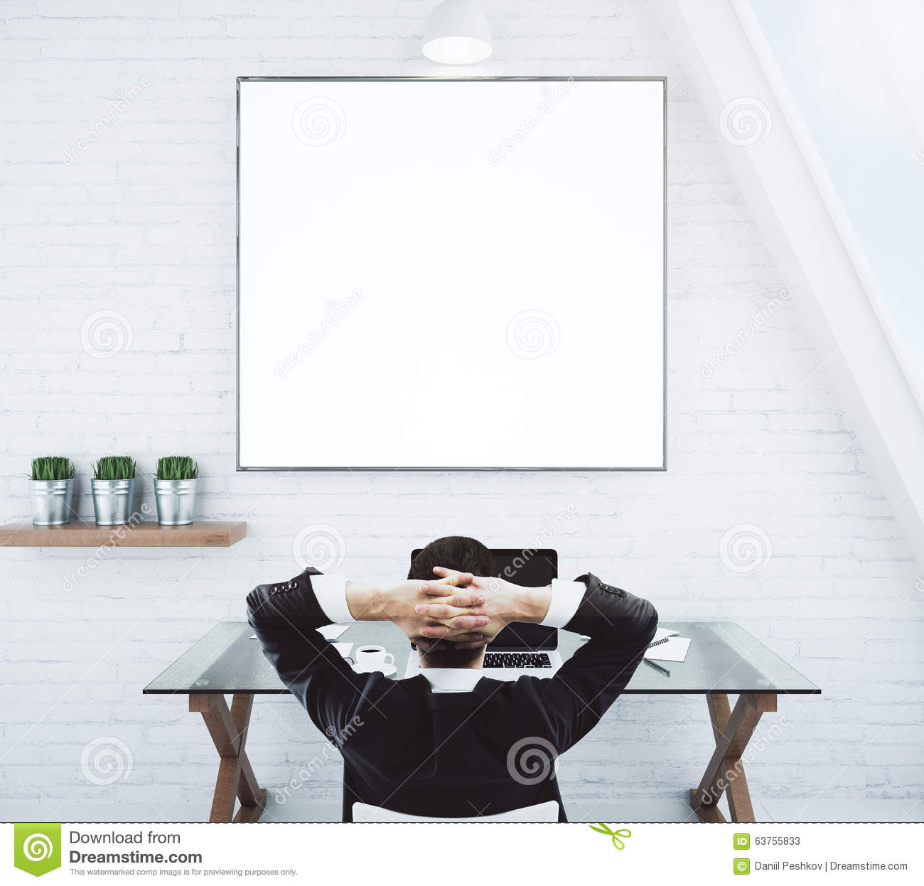 Businessman Looking At Blank Wall Royalty Free Stock Image