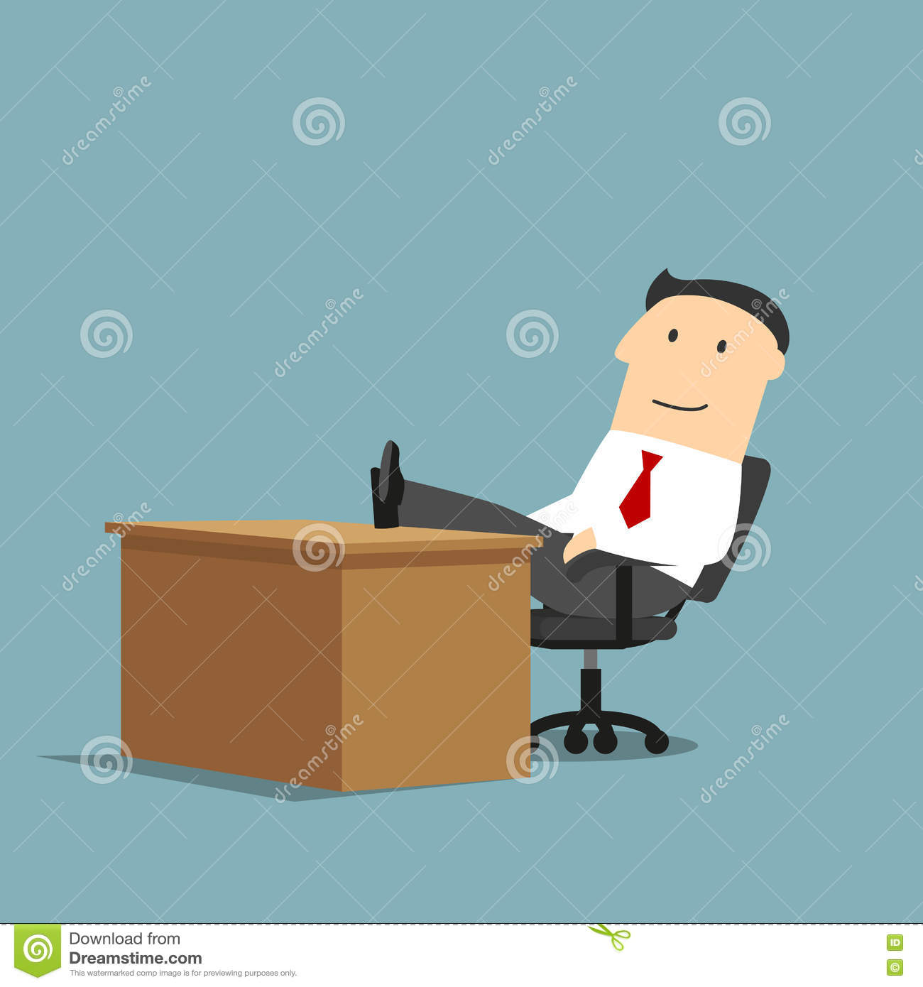 Coffee Table Leg Broken: Businessman Resting With Feet On The Table Stock Vector