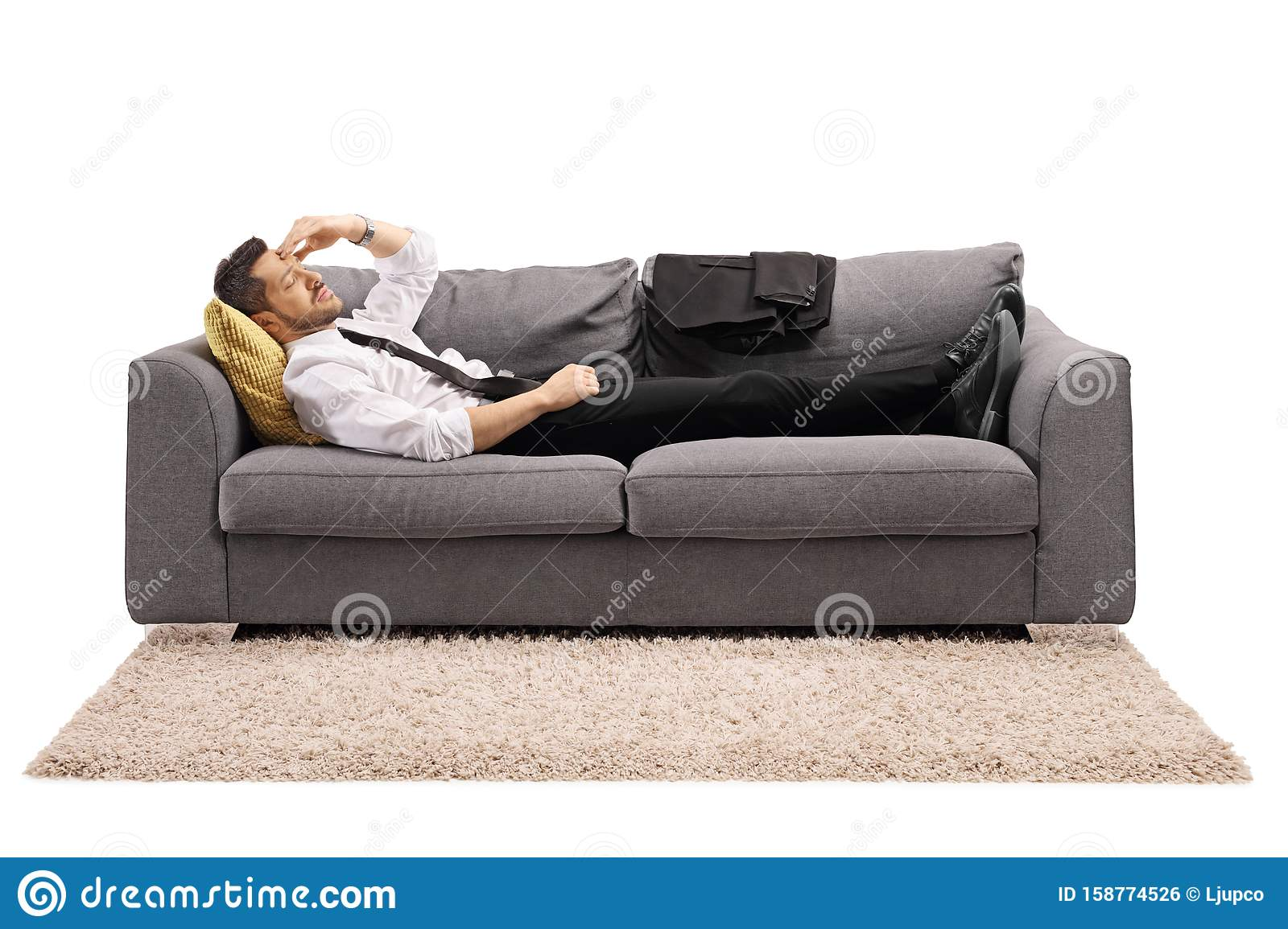 Picture of: Businessman Resting On A Sofa Bed After Work Stock Photo Image Of Male Head 158774526