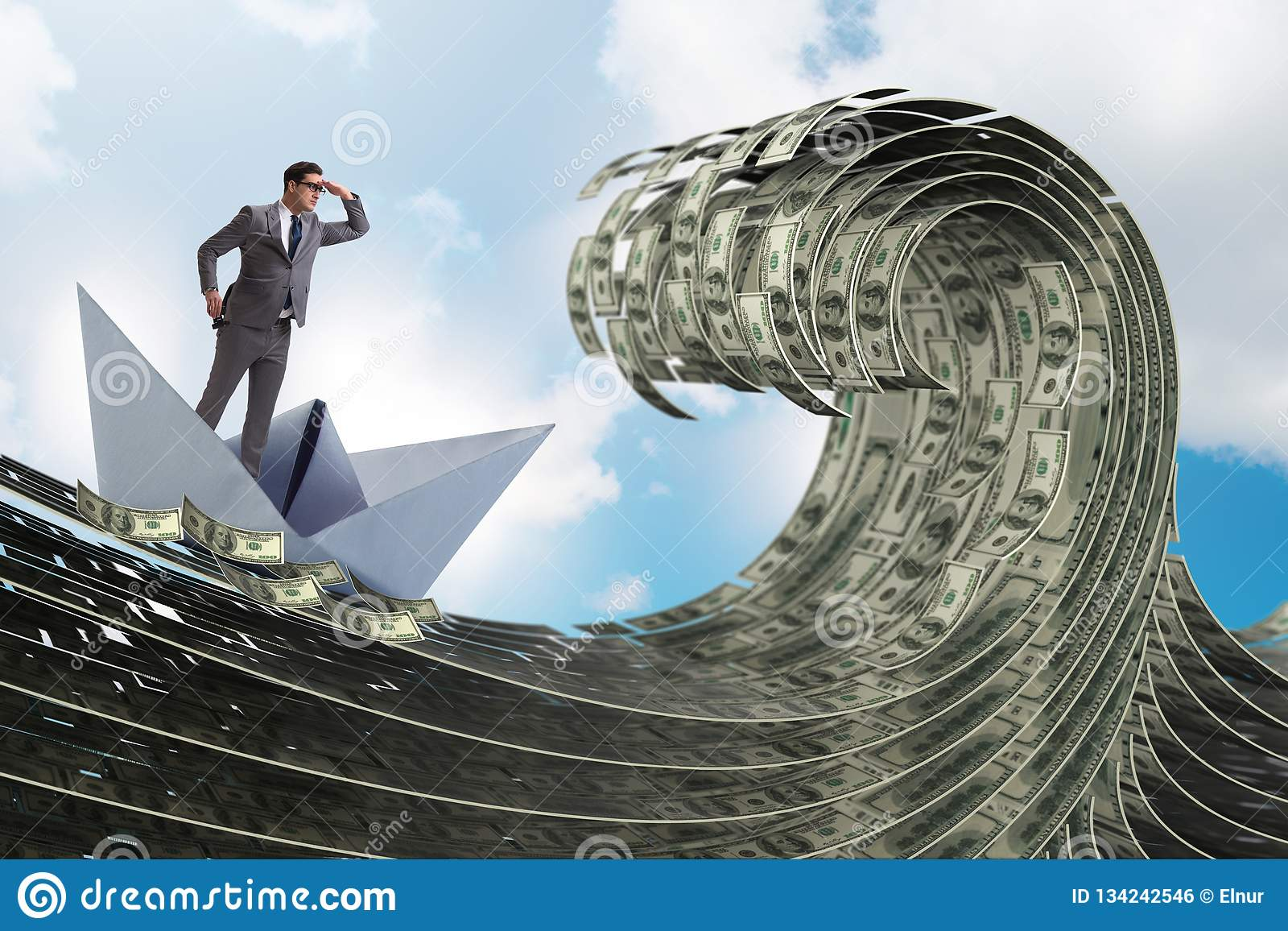 The businessman riding paper boat in dollar sea