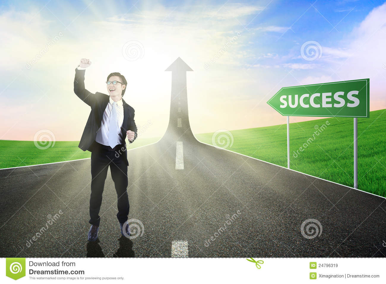 businessman on the road to success royalty free stock