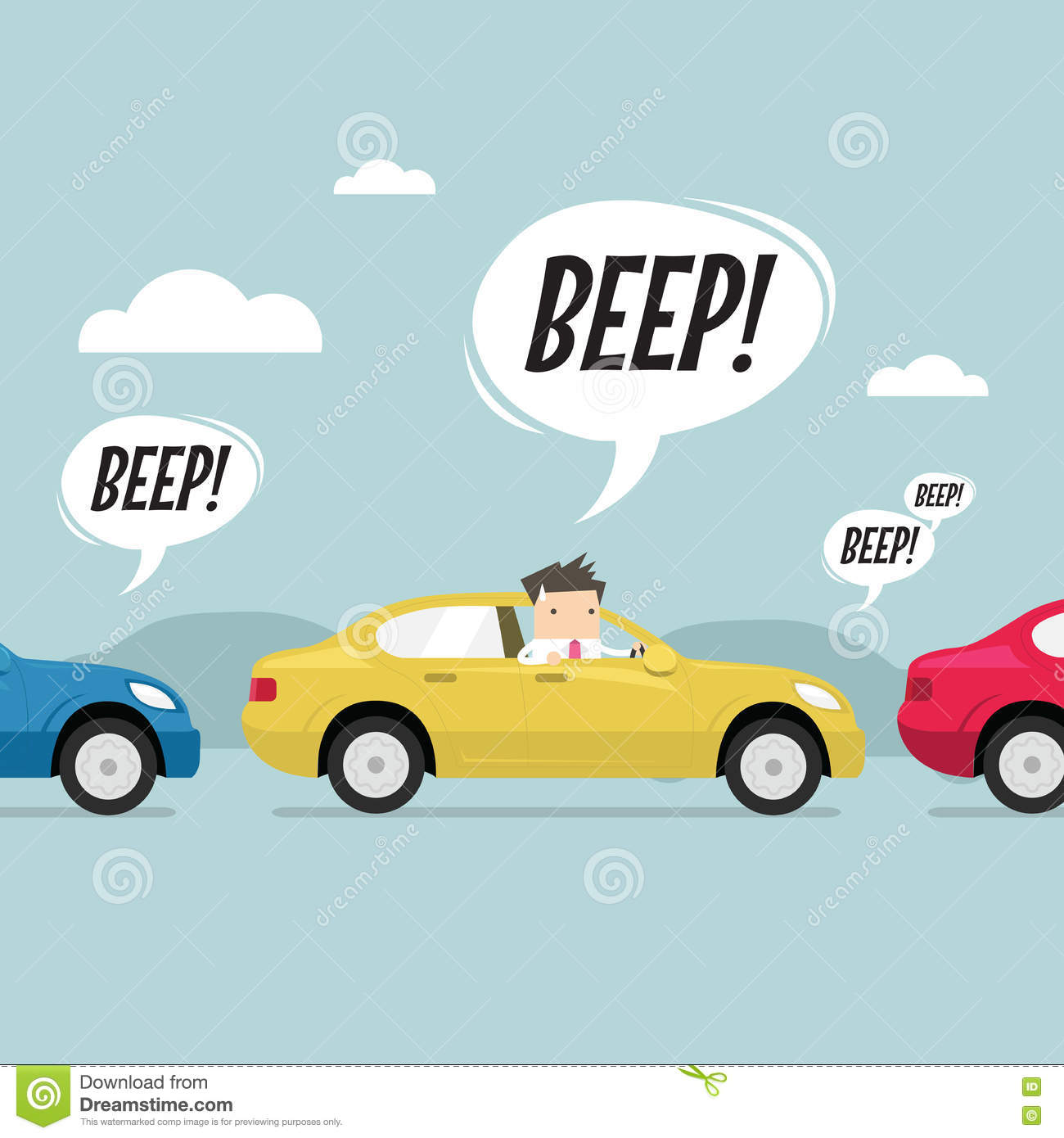 Businessman on the road with traffic jam, honk a horn. vector