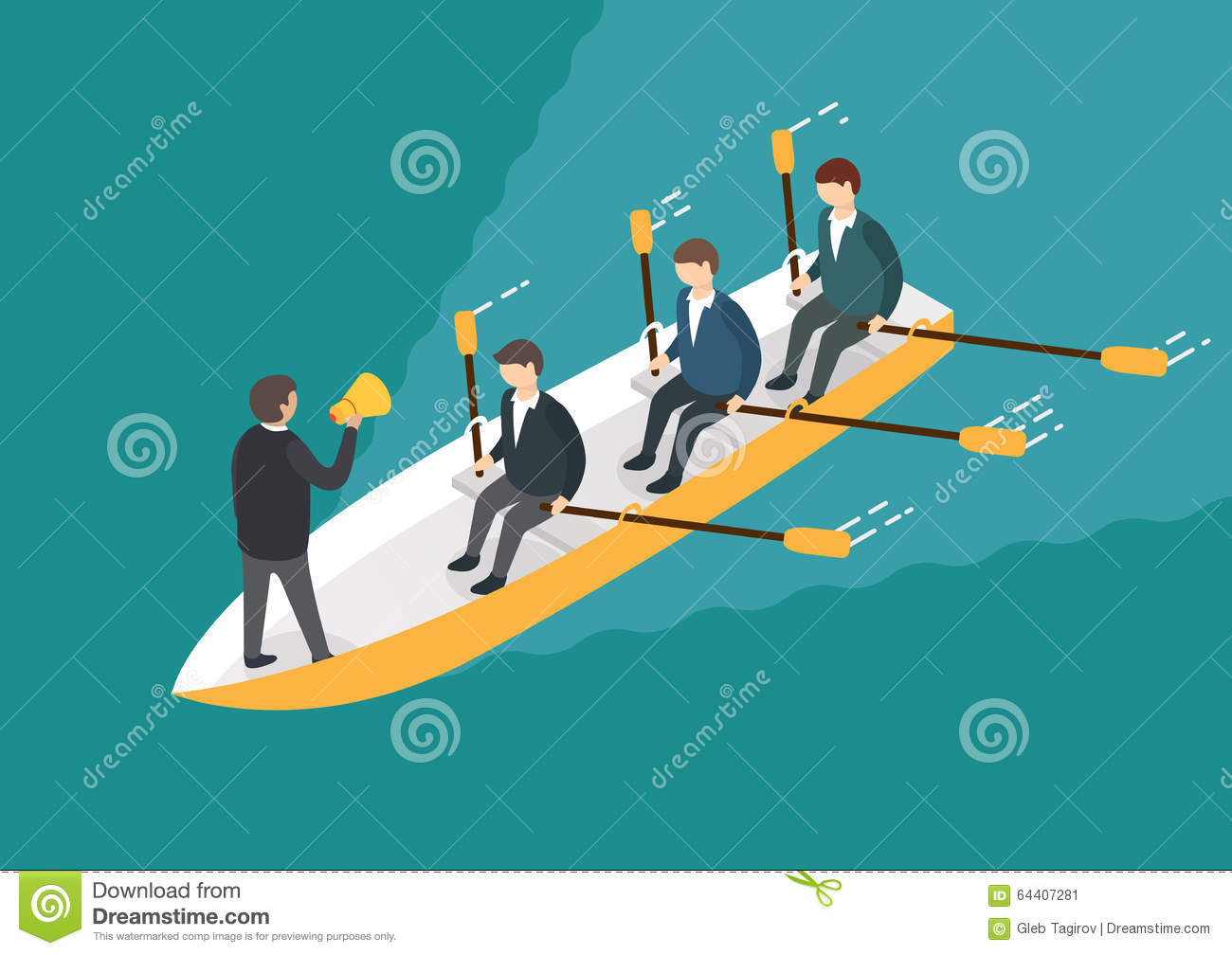 Businessman Rowing Team, Teamwork Concept. Isometric 3d ... Rowing Boat Team