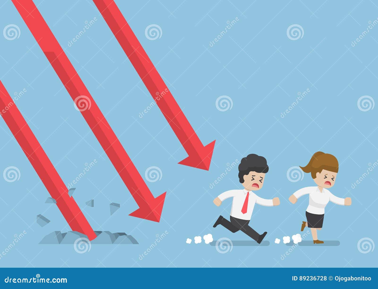 Businessman Run Away From Falling Graph