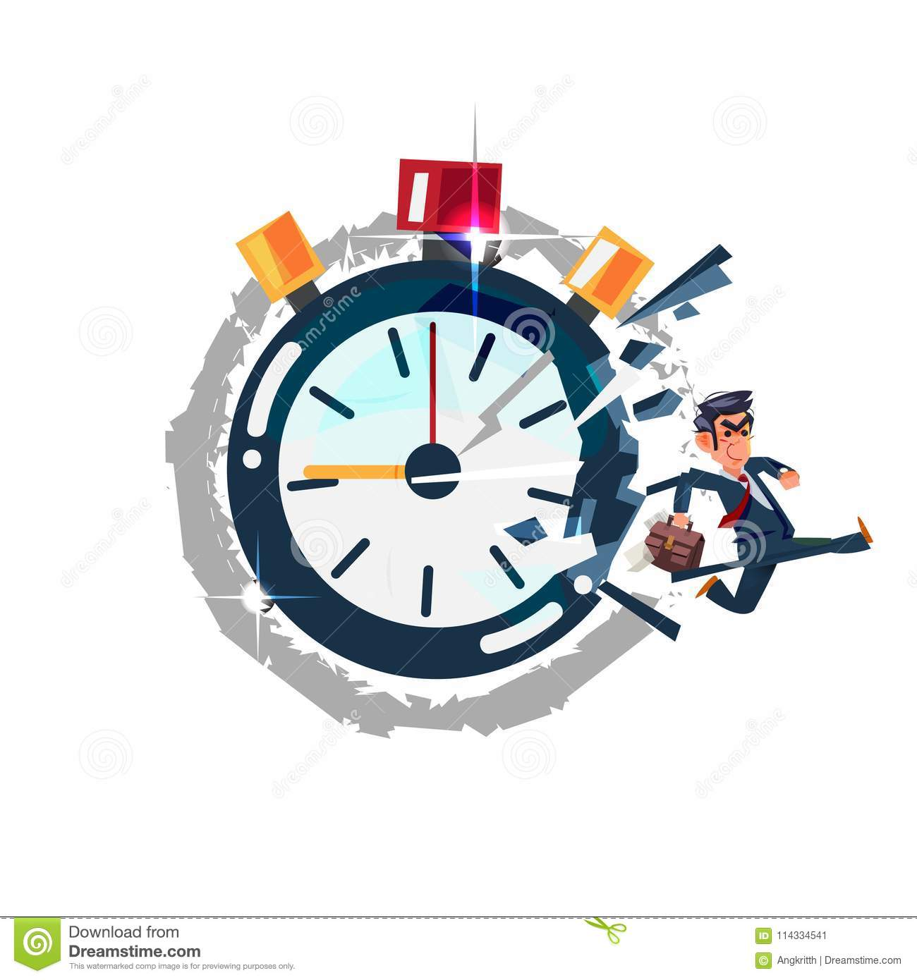businessman running out of timer clock break the times concept