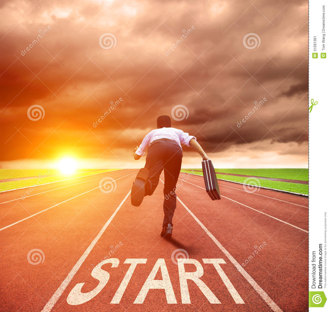 Businessman running for race on the track