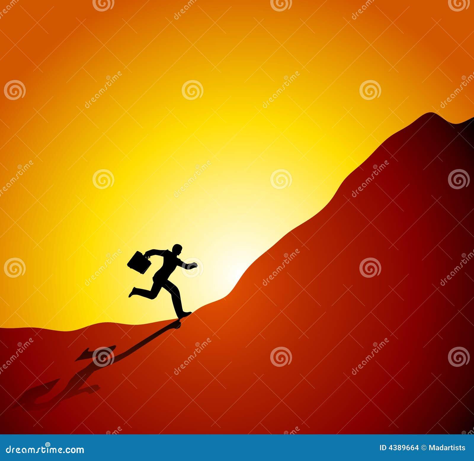 Businessman Running Up Mountain