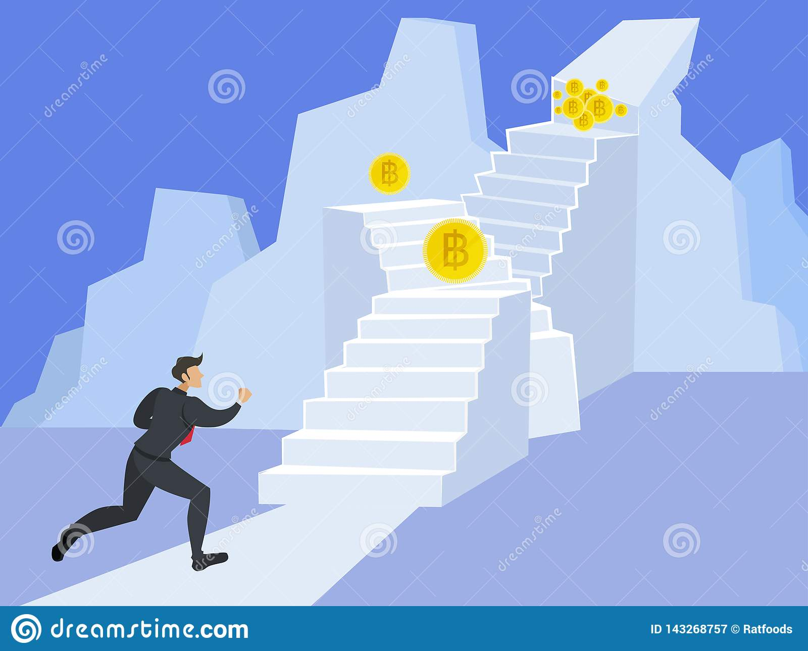 Businessman running up stairway to the top of mountain