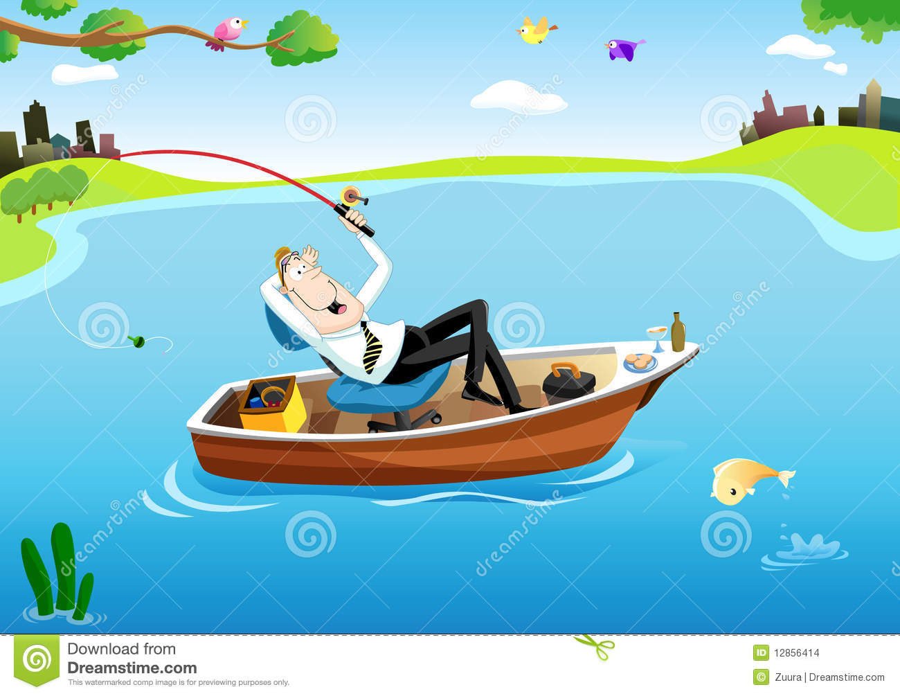 Businessman 39 s fishing time stock images image 12856414 for Fishing times free