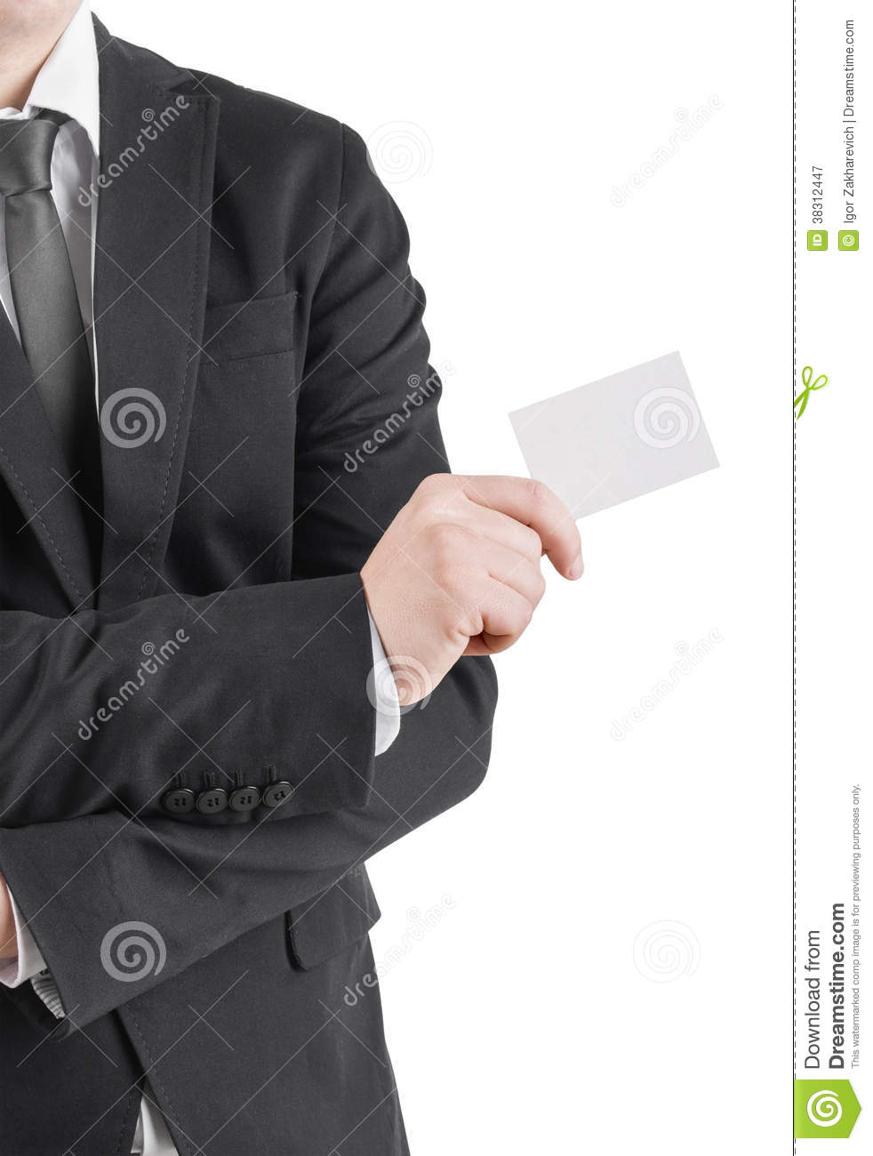 businessman's hand with blank credit card stock image