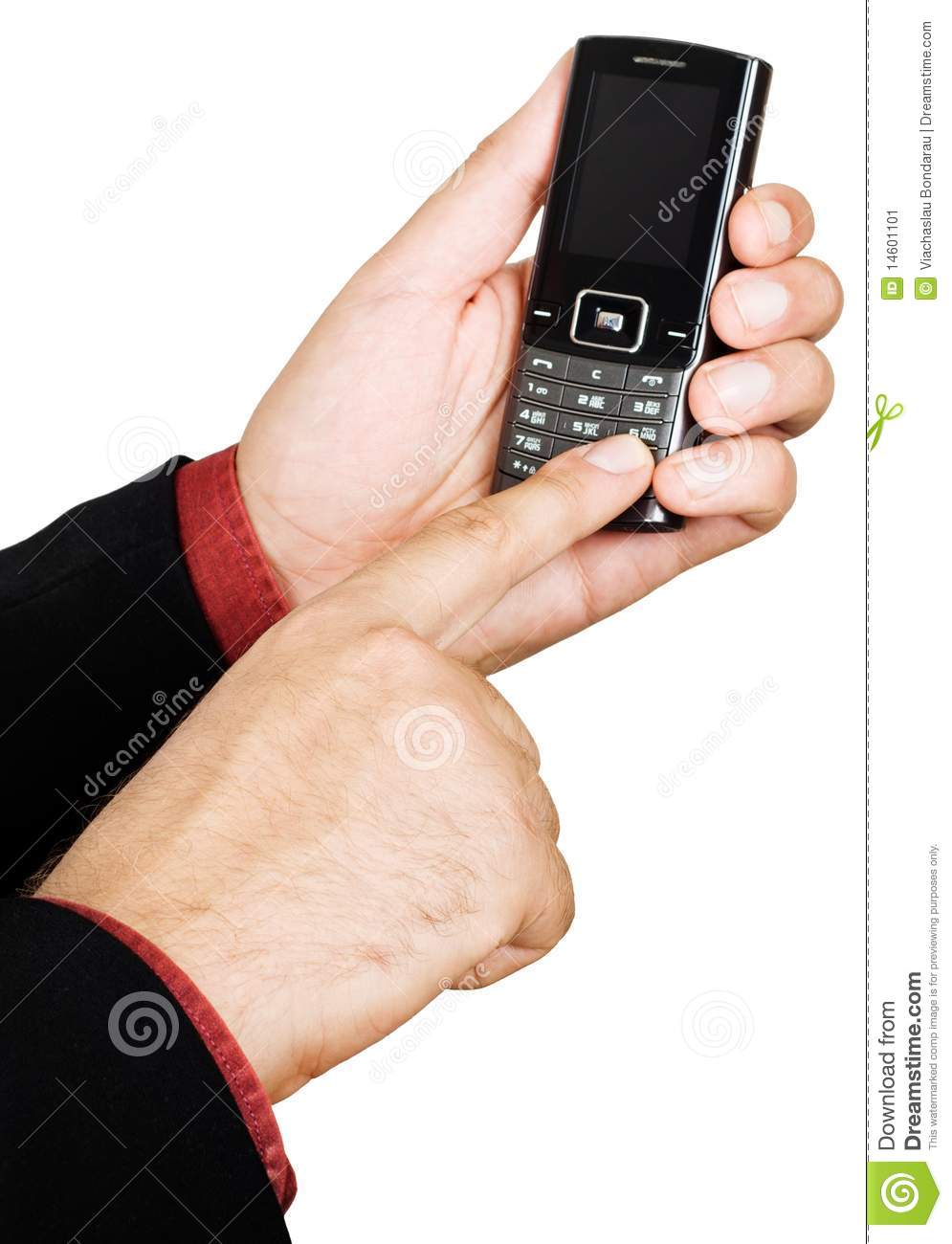 Technology Management Image: Businessman's Hand Holding A Cell Phone Stock Image