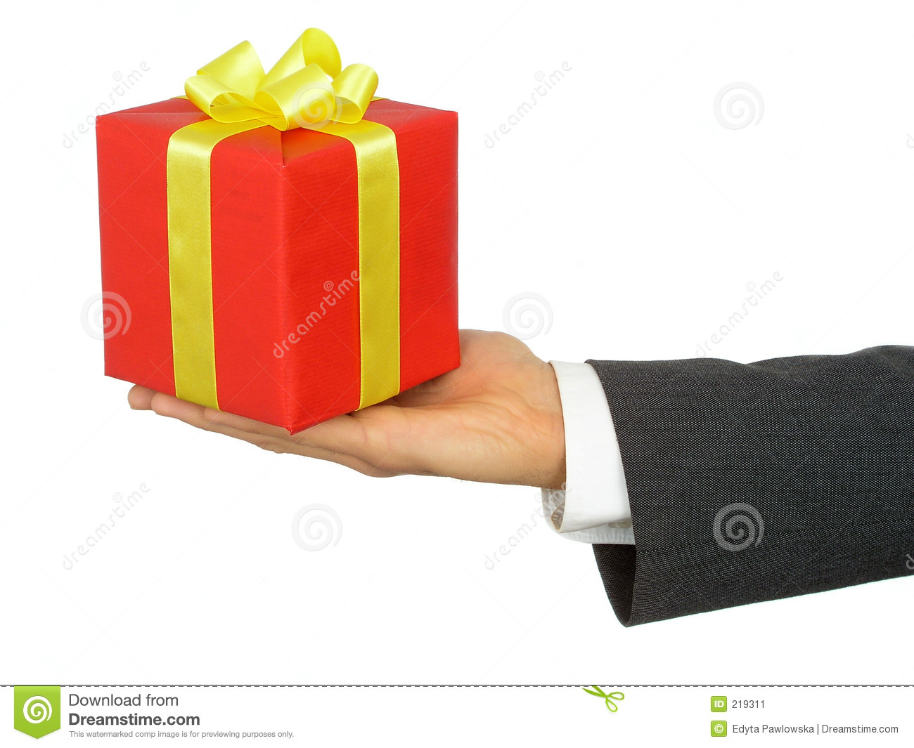 Businessman S Hand Holding Gift