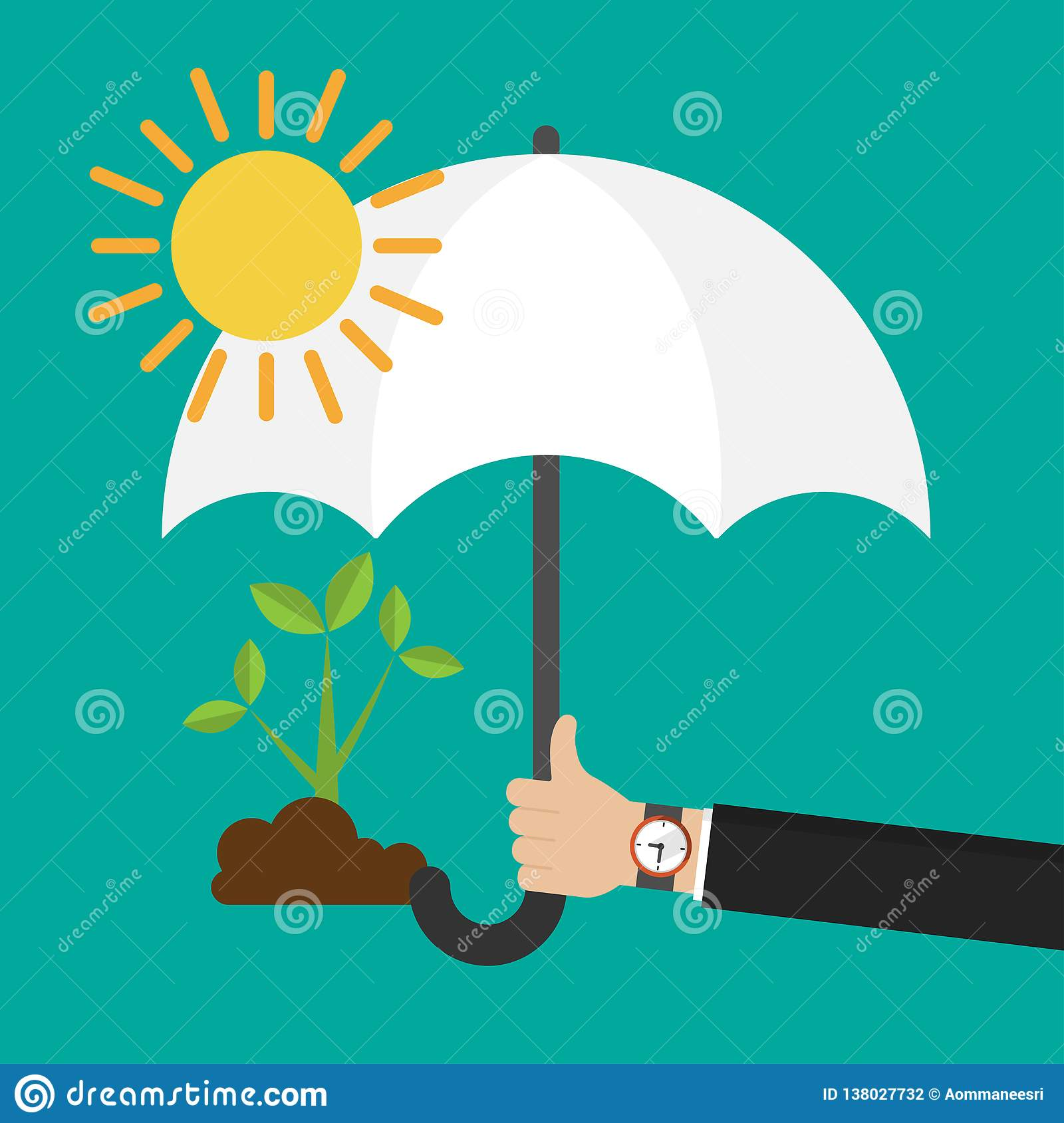 Businessman`s hand holding an umbrella for protecting seedling from the sun icon flat design
