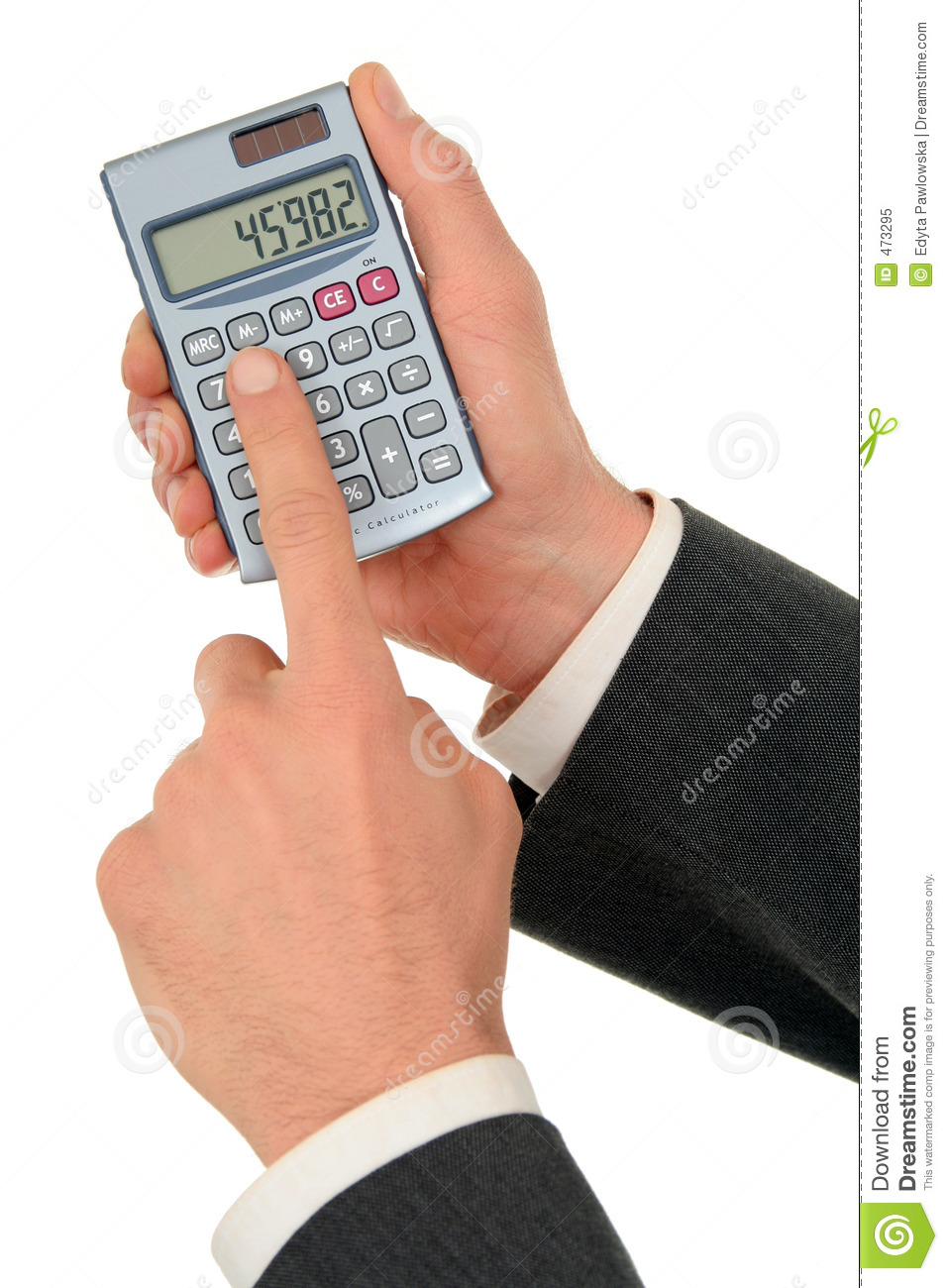 Download Businessman's Hands Holding A Calculator Stock Image - Image of office, education: 473295