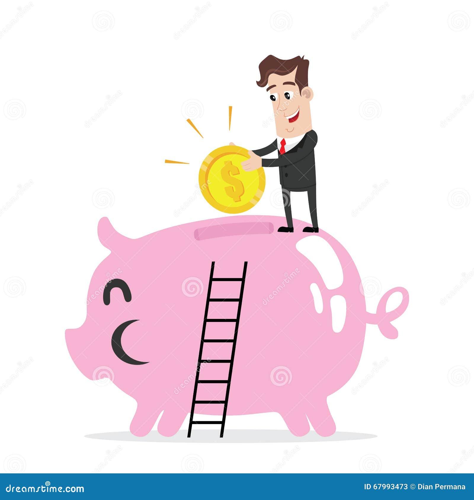 Businessman Holding A Big Piggy Bank. Cartoon Vector