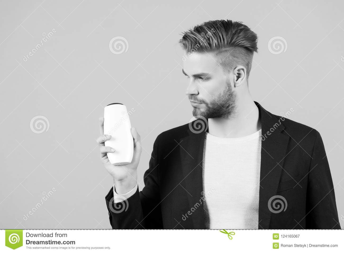 Businessman With Shampoo Or Gel Bottle In Hand Spa Stock Image