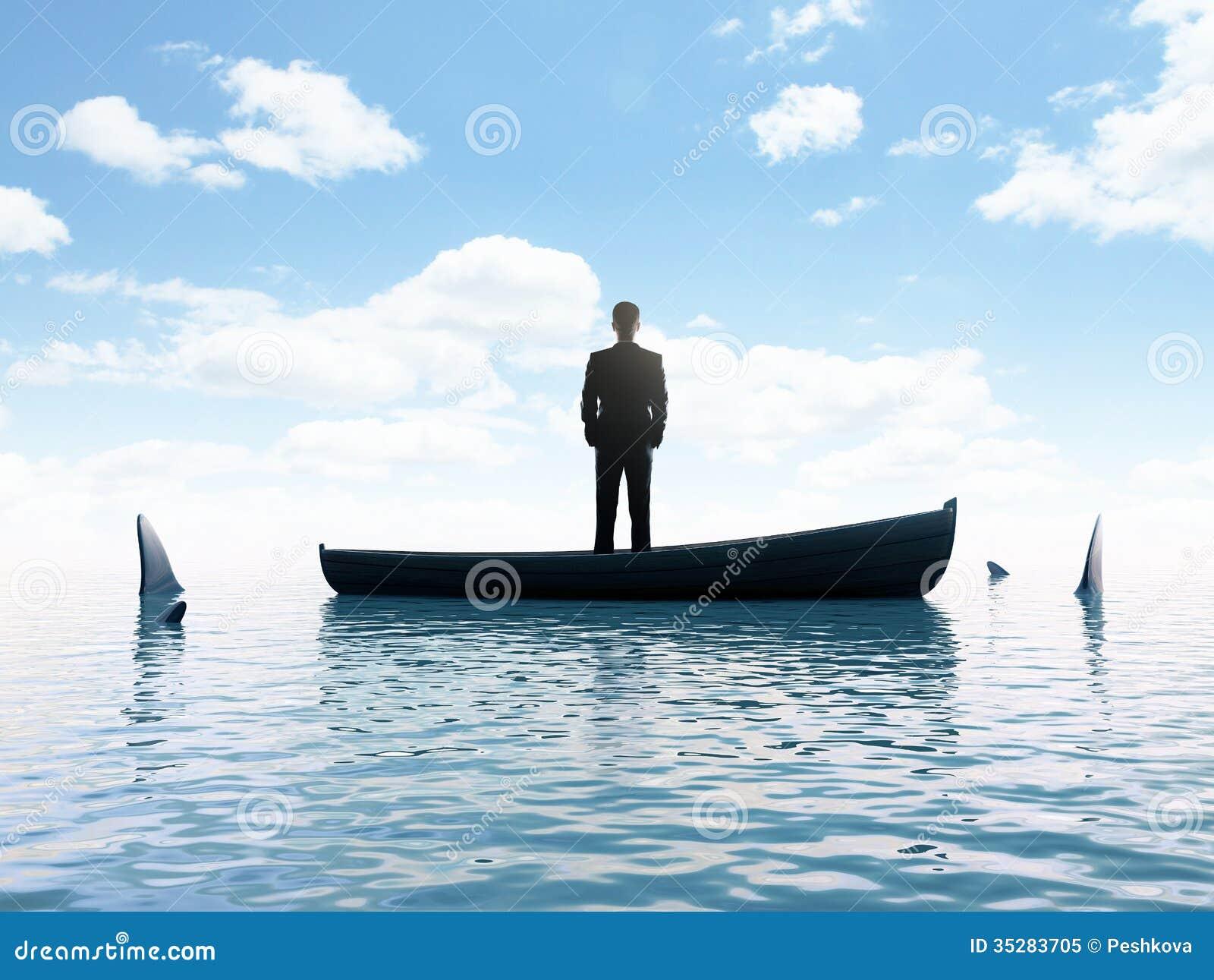 Businessman and sharks stock illustration. Illustration of manager - 35283705