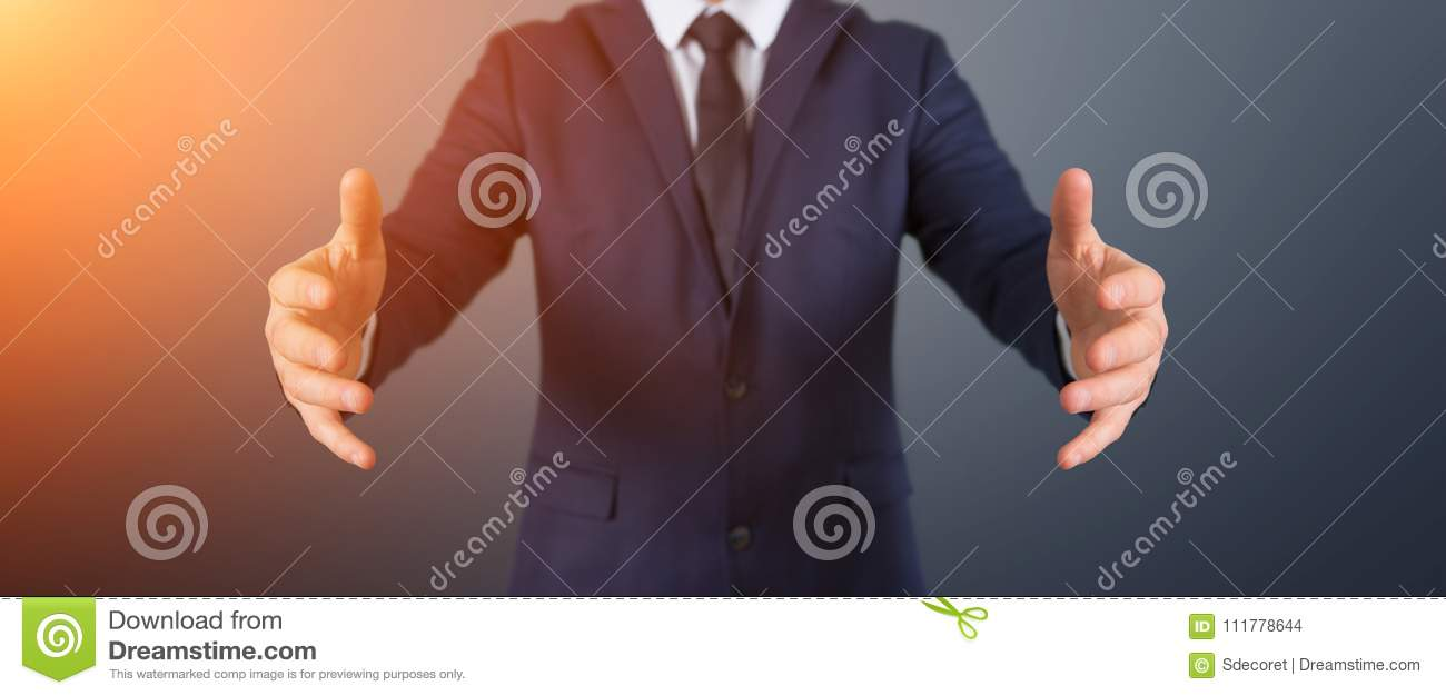 Businessman showing empty hands