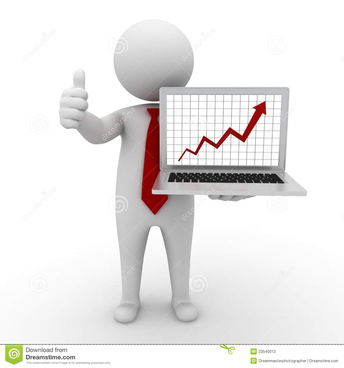 Business man standing and showing growth progress graph chart from