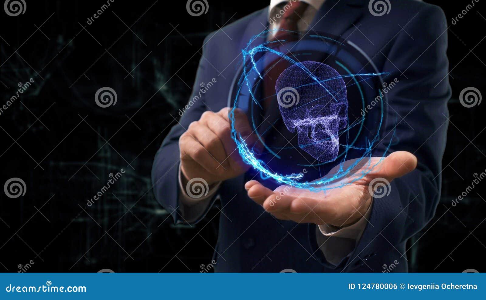 Businessman shows concept hologram 3d skull on his hand