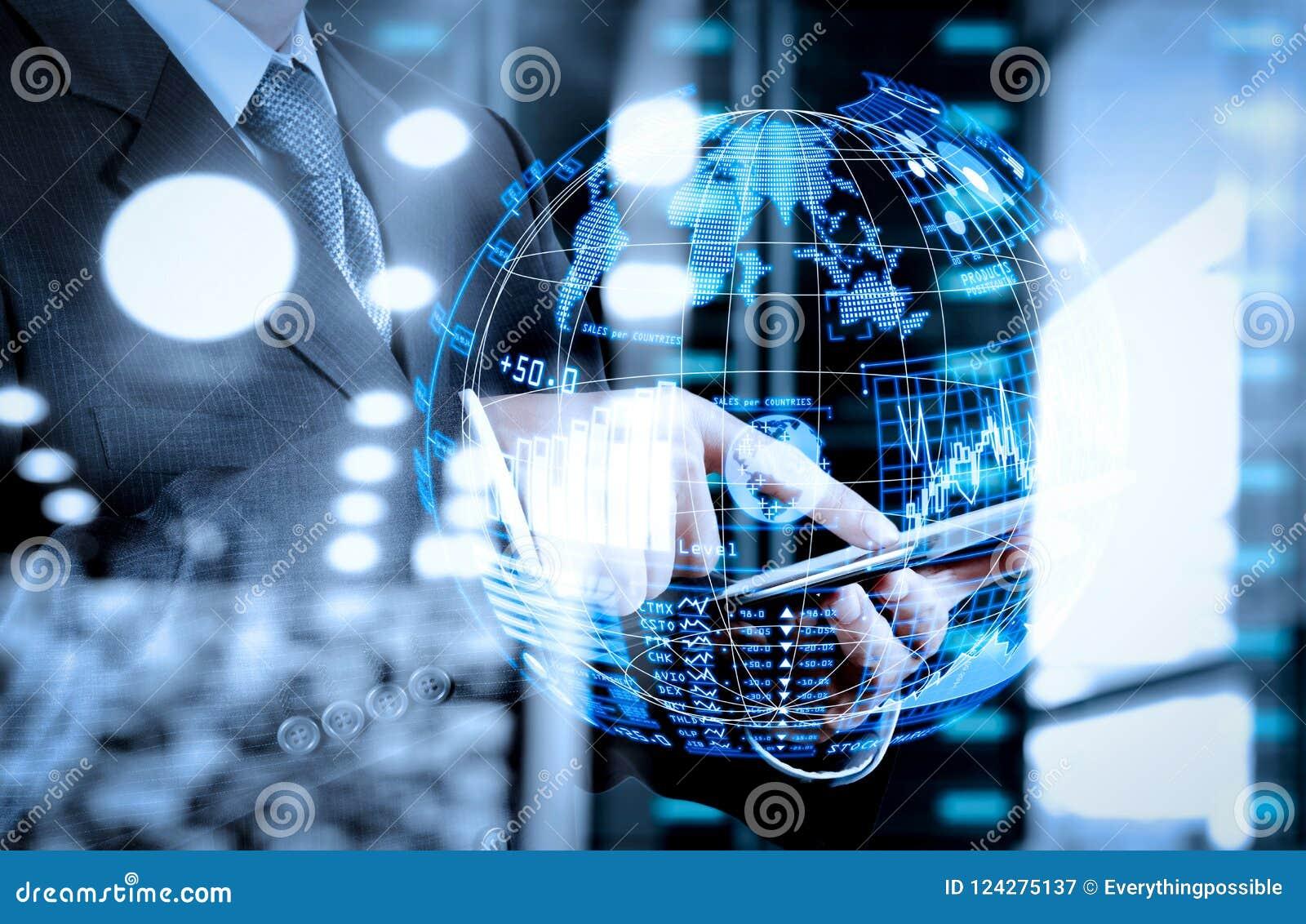 Businessman Shows Modern Technology As Concept Stock Illustration