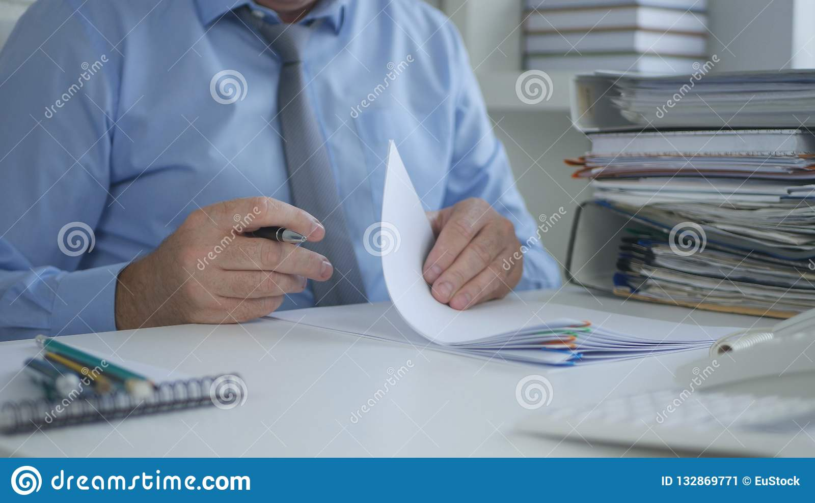 Businessman Sign Financial Documents In Accounting Office